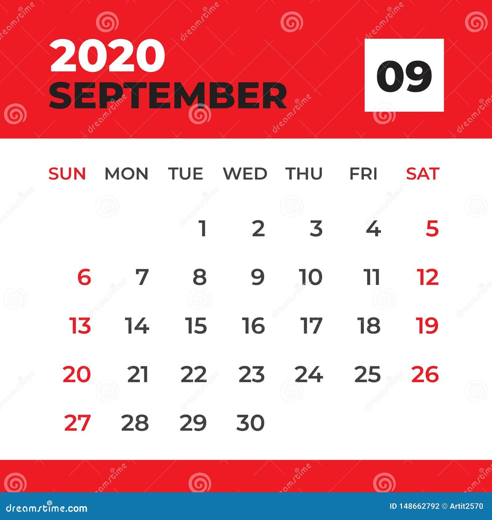 Calendrier Septembre 2020.Septembre 2020 Calibre Calendrier De Bureau Pendant 2020