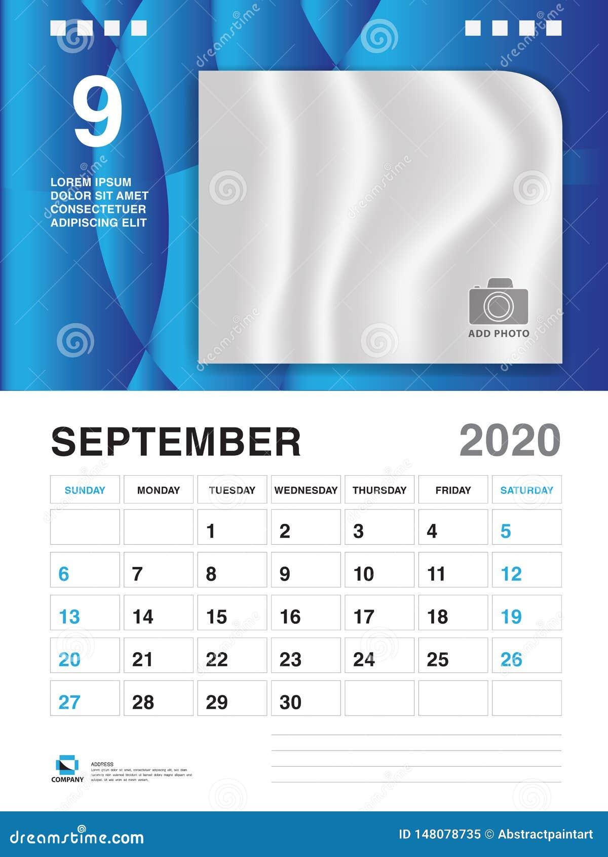Calendrier 2020 Fete Des Meres.Septembre 2020 Calibre D Annee Vecteur Du Calendrier 2020