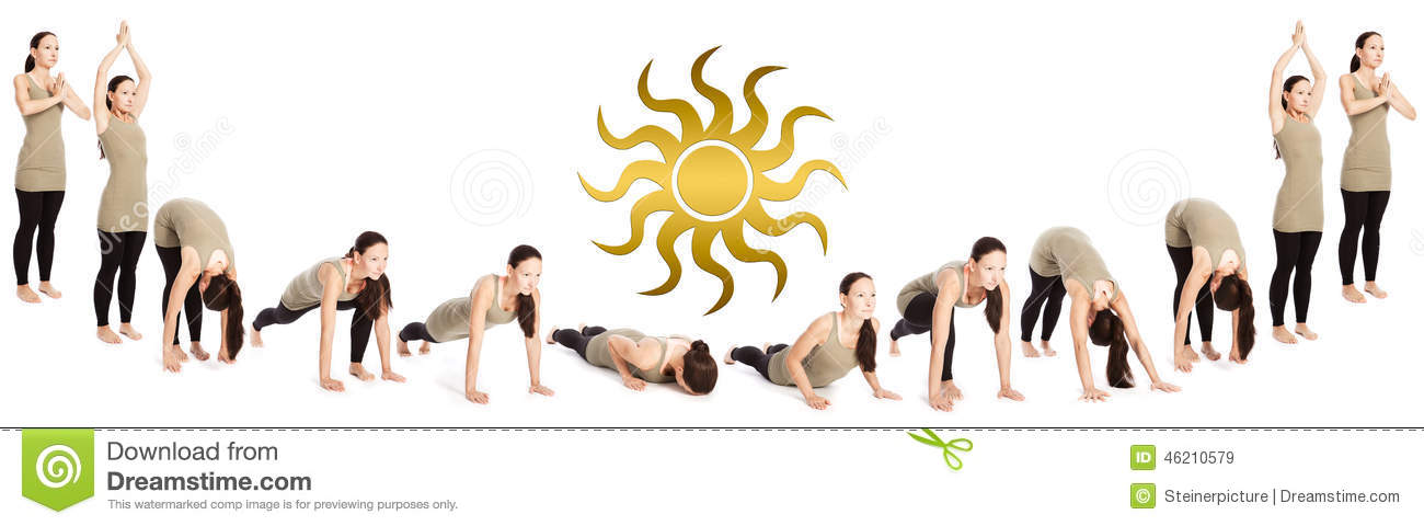 Sequence Fo Sun Salutation Stock Photo - Image: 46210579