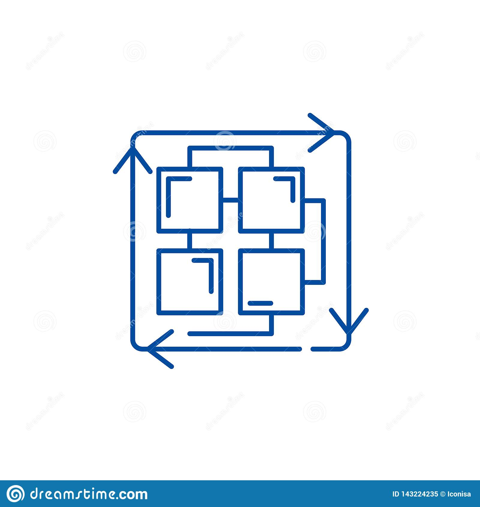 Sequence of processes line icon concept. Sequence of processes flat vector symbol, sign, outline illustration.