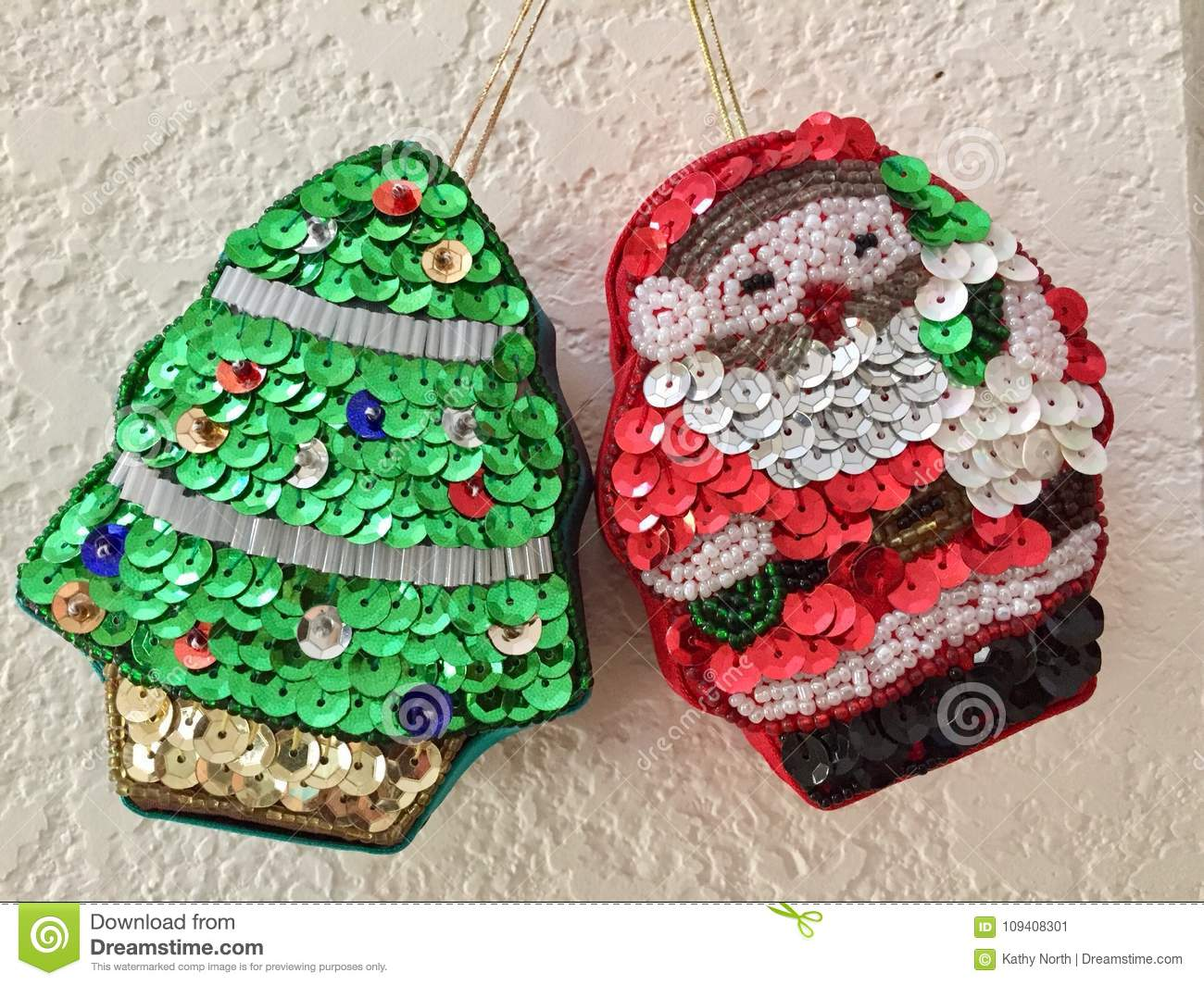 Sequined holiday ornaments stock image. Image of ornaments - 109408301