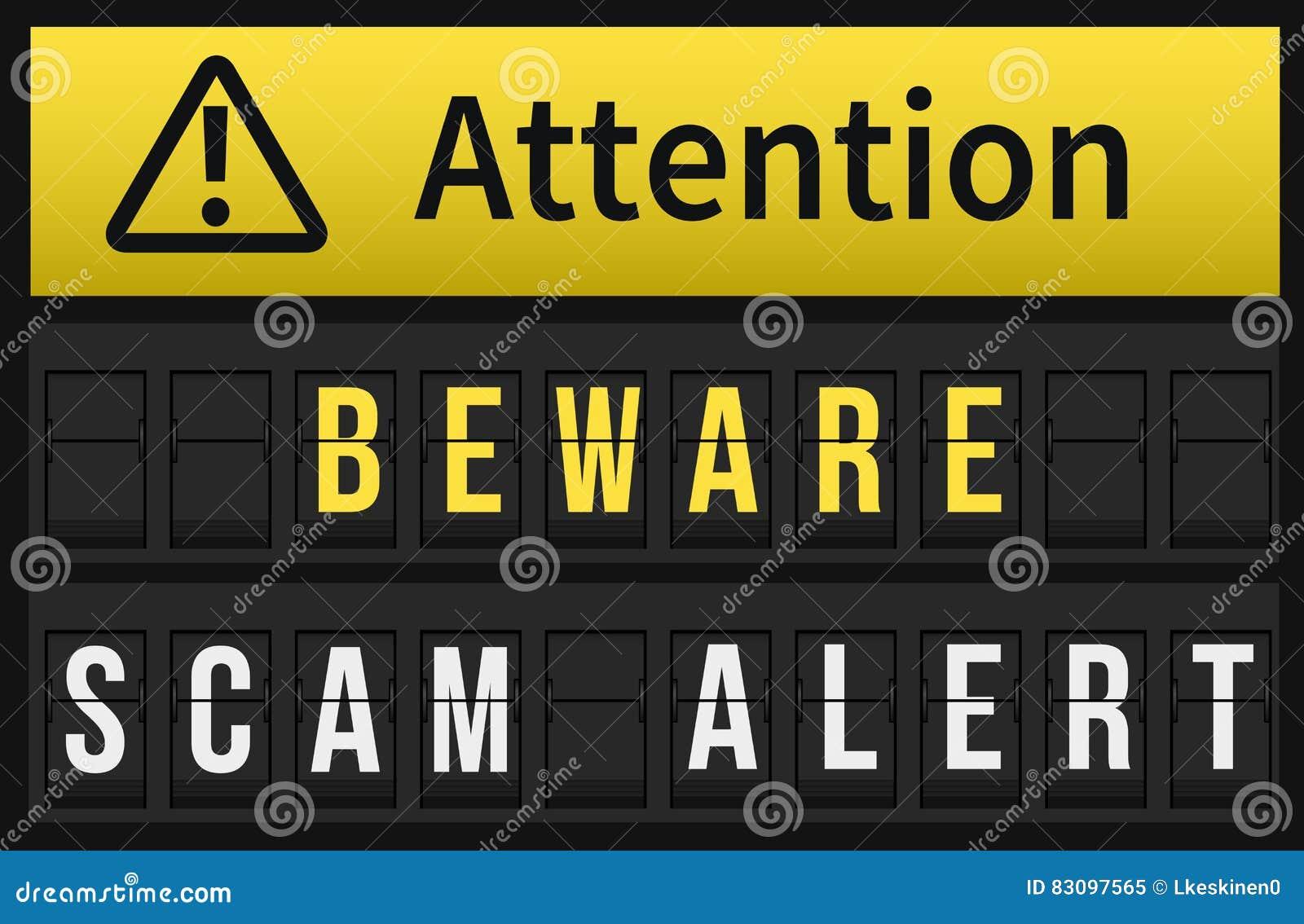 Ser cuidadoso a mensagem alerta de Scam