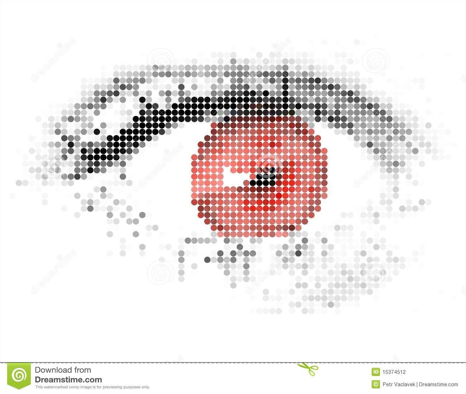 Ser humano abstrato - digital - olho vermelho