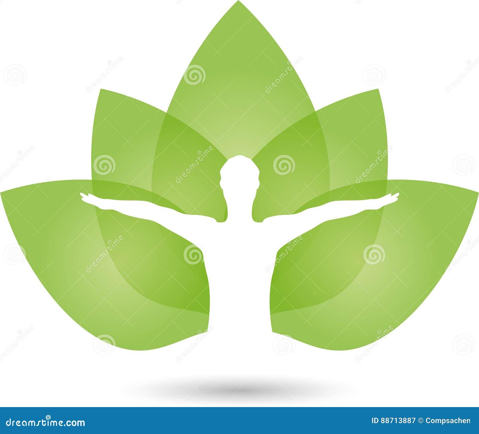 Ser humano e folhas, naturopath e logotipo da aptidão