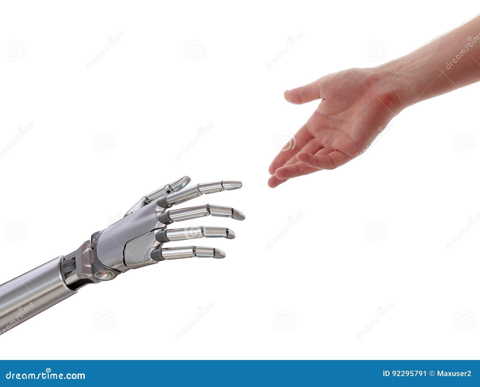 Ser humano y robot que tocan el ejemplo 3d aislado en el fondo blanco