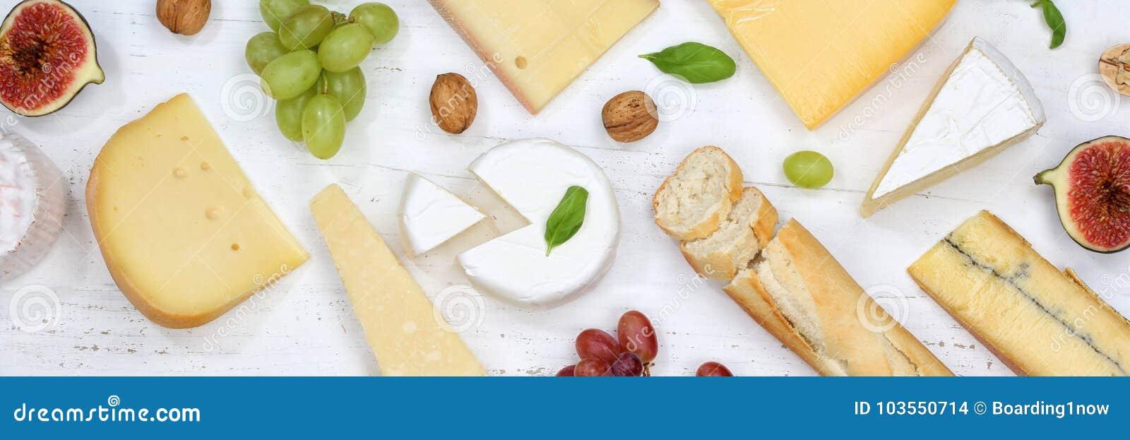 Sera półmiska talerza Camembert deskowego Szwajcarskiego chlebowego sztandaru odgórny widok