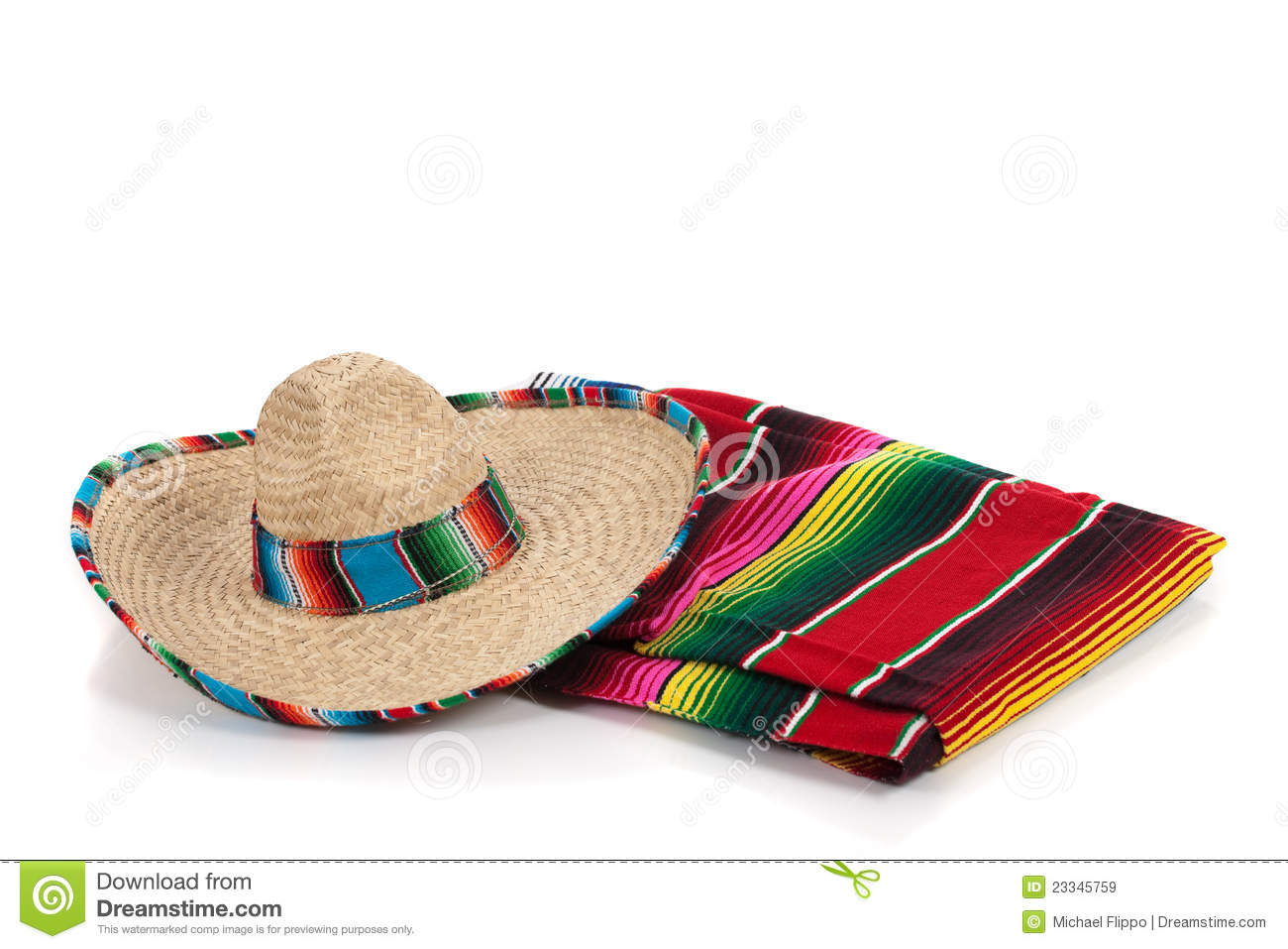 Mexican Blanket Pattern Serape And Sombrero On...