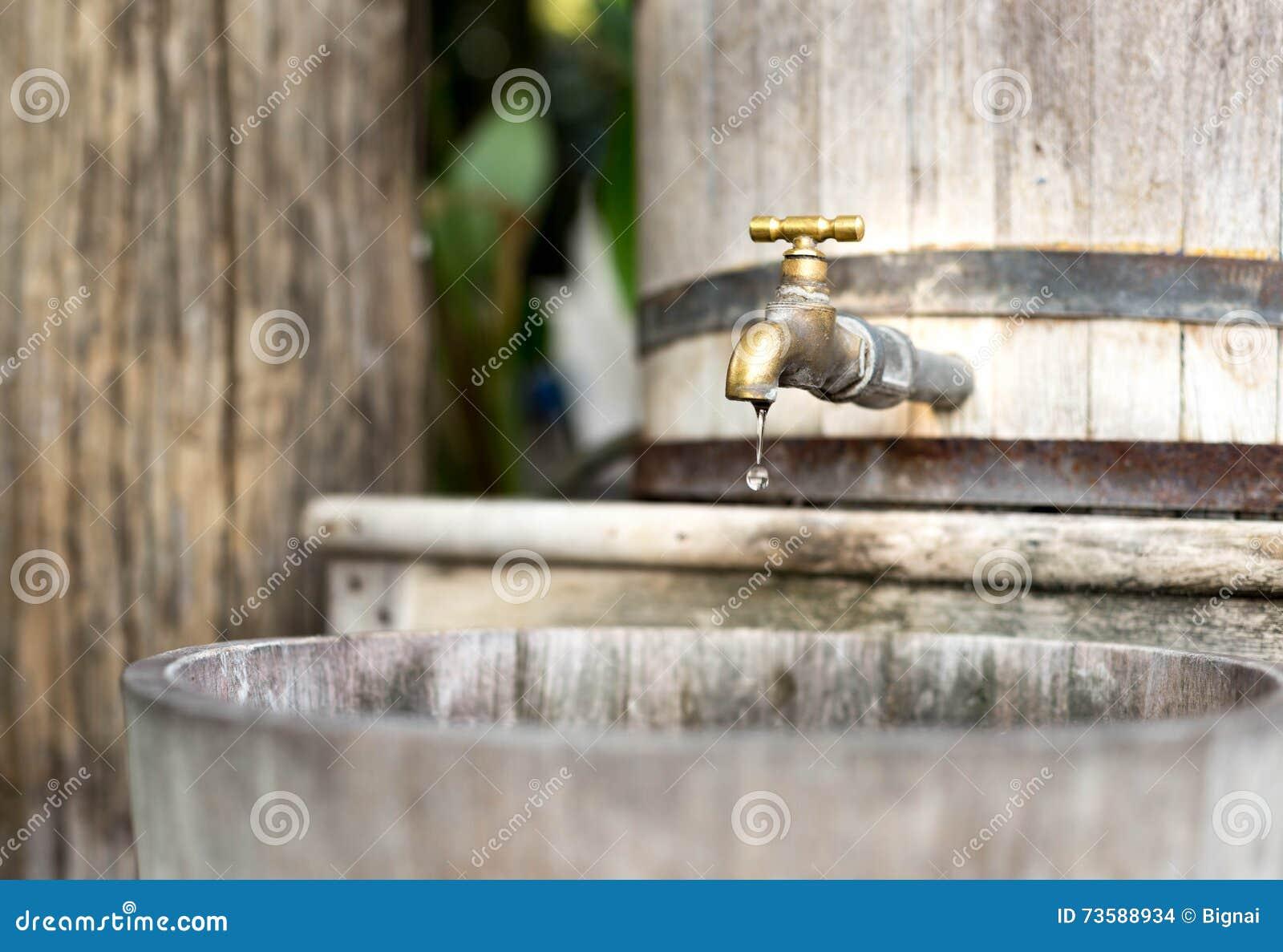 Serbatoio di acqua di legno dell acqua di risparmio di concetto con il rubinetto dorato e nella s