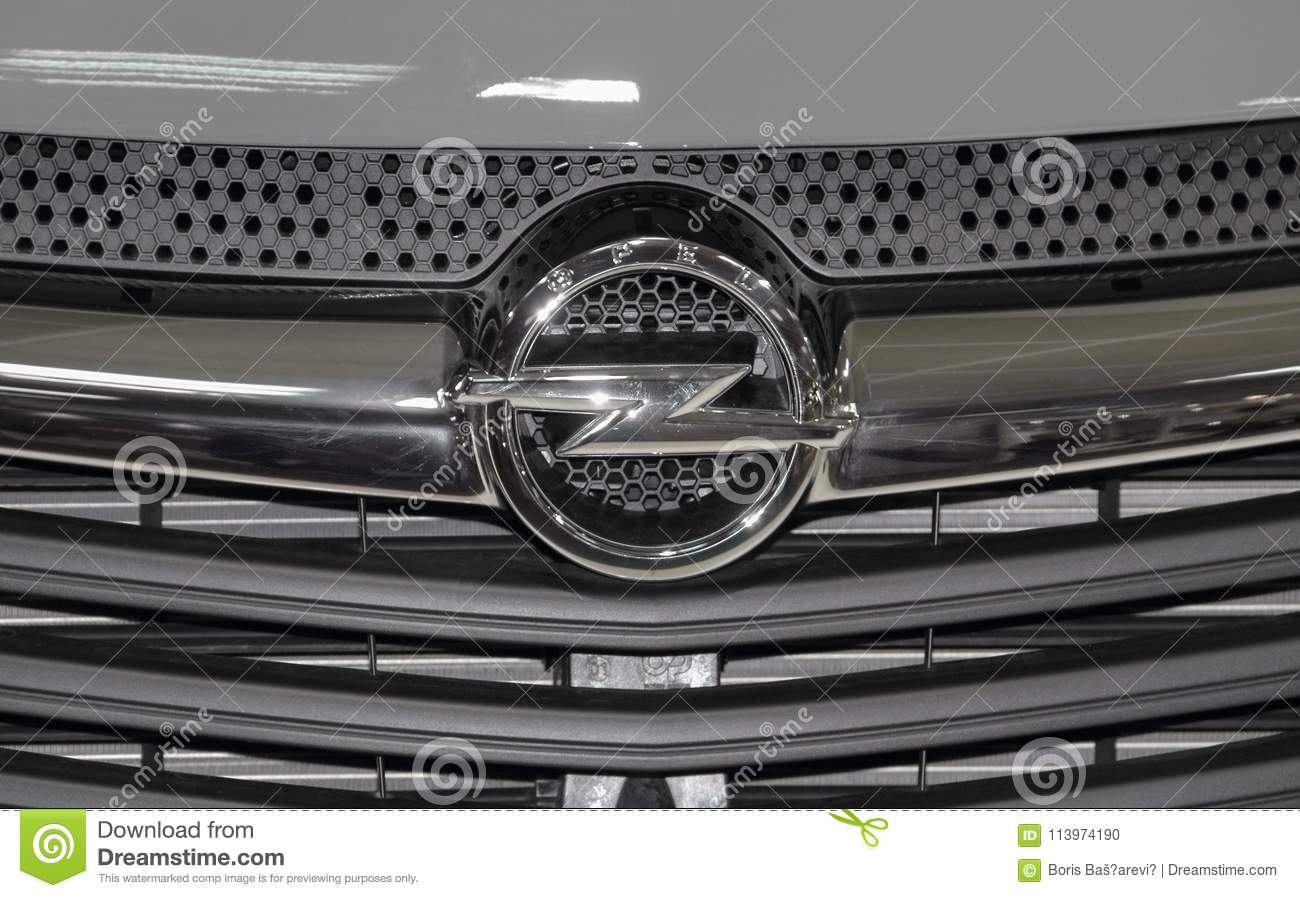 Serbia; Belgrade; April 2, 2017; The close up of Opel logo; The 53rd International Motor Show in Belgrade from March 24th to April