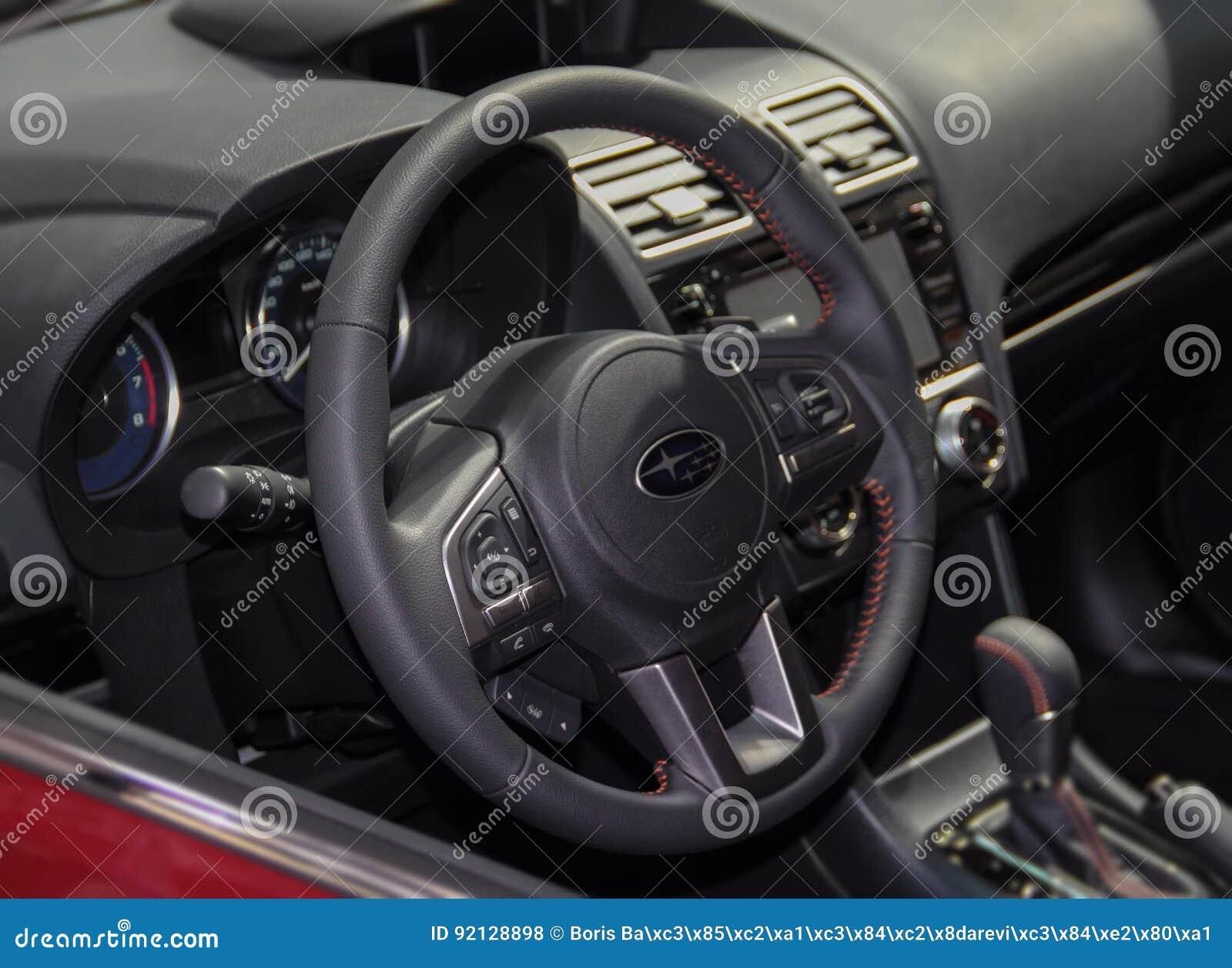 Serbia; Belgrade; April 2, 2017; The close up of Subaru steering