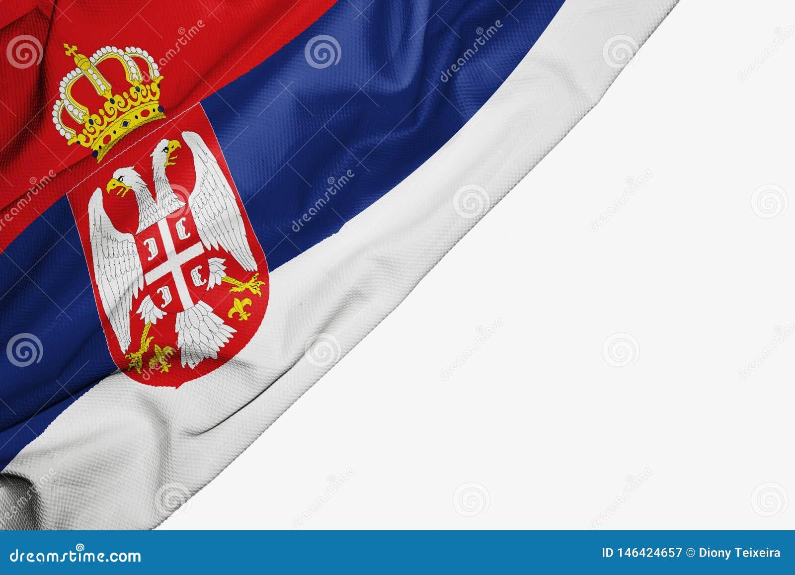 Serbia flaga tkanina z copyspace dla tw?j teksta na bia?ym tle