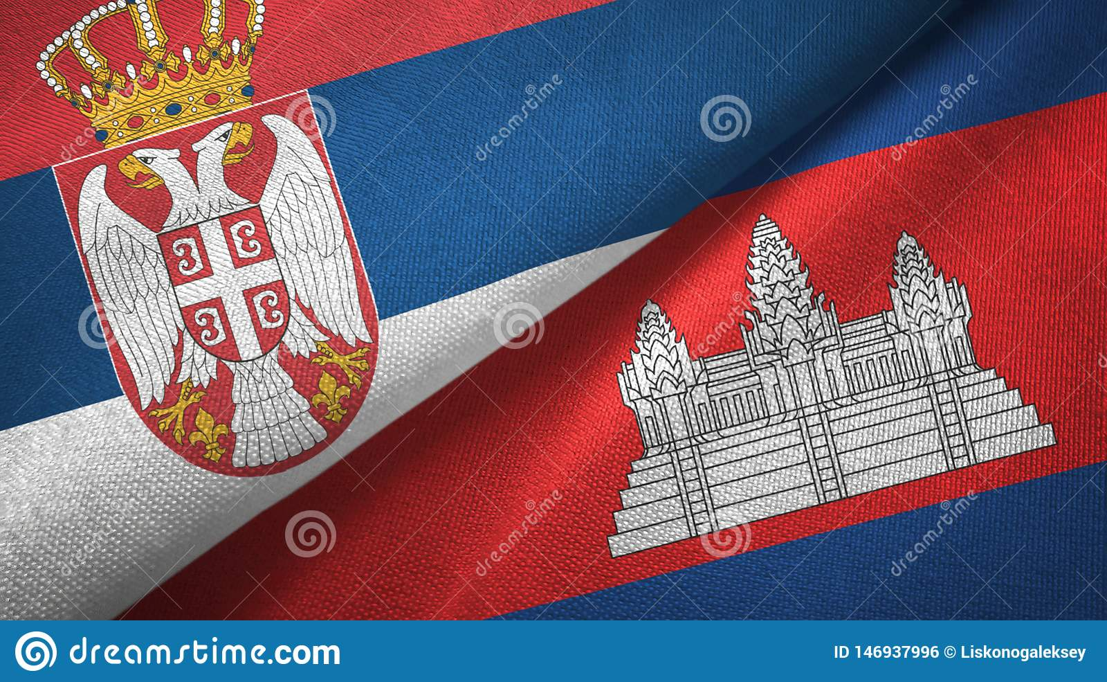 Serbia i Kambodża dwa flagi tekstylny płótno, tkaniny tekstura