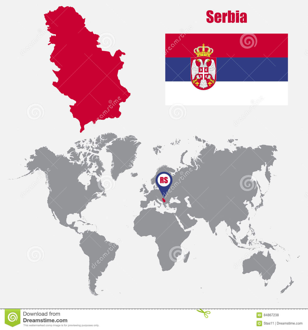 Serbia Map On A World Map With Flag And Map Pointer Vector