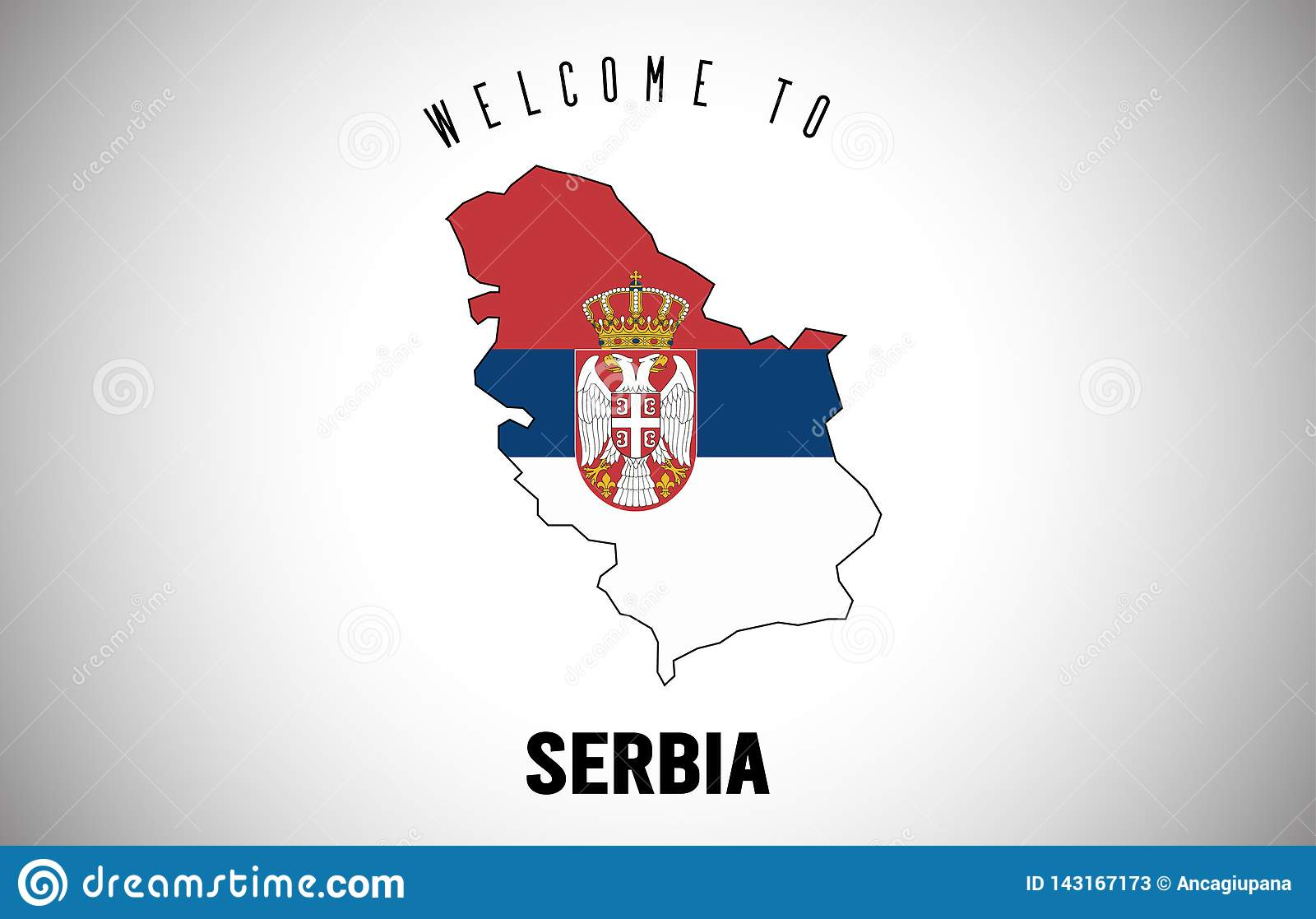 Serbia Welcome to Text and Country flag inside Country border Map Vector Design