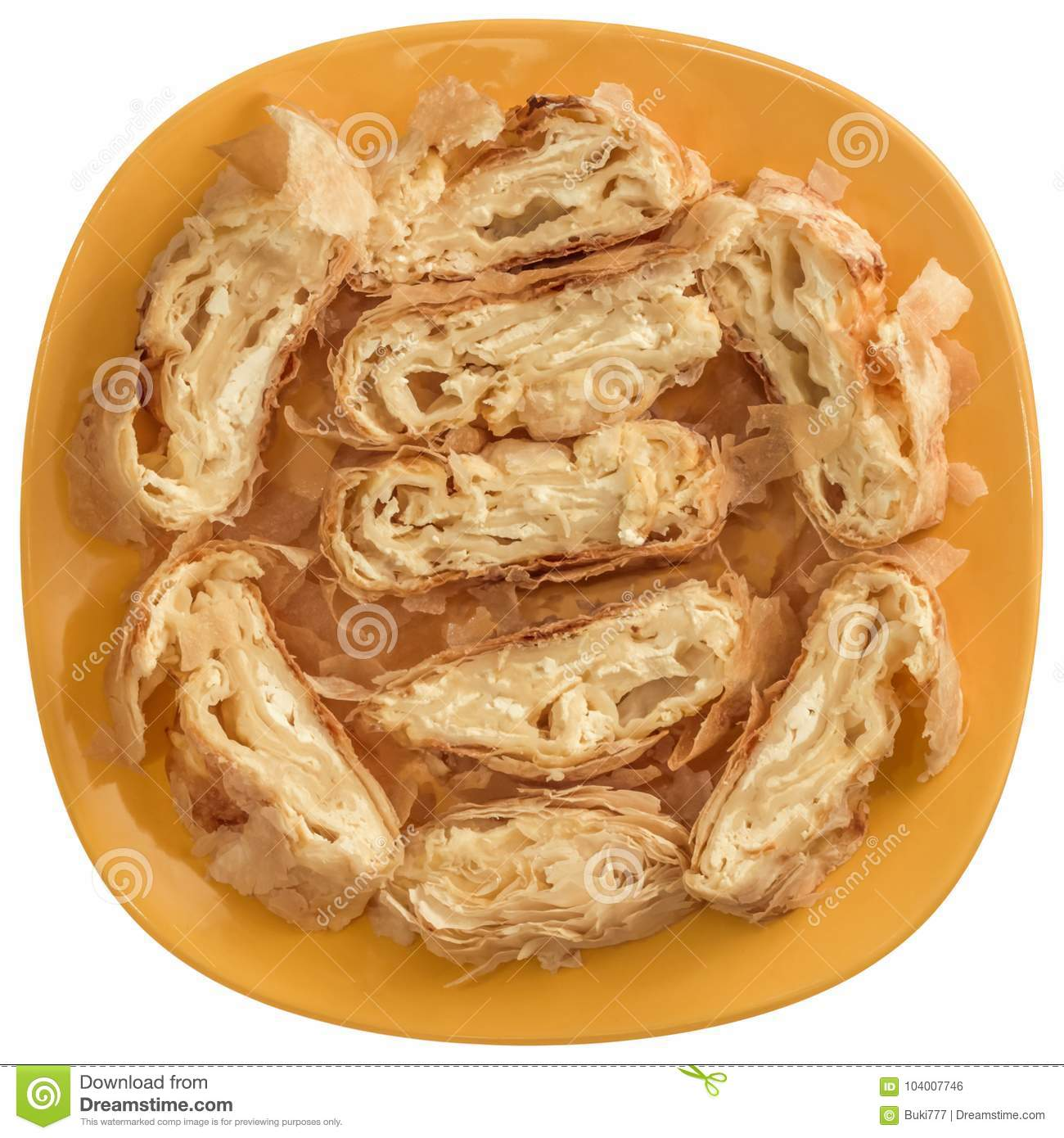Serbian Traditional Cheese Roll Pie Gibanica Slices Offered On Yellow Ceramic Plate Isolated On White Background