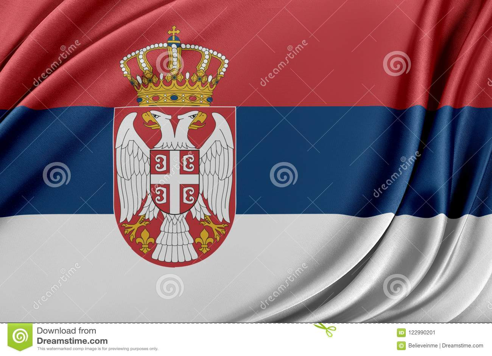 Serbien flagga med en glansig siden- textur