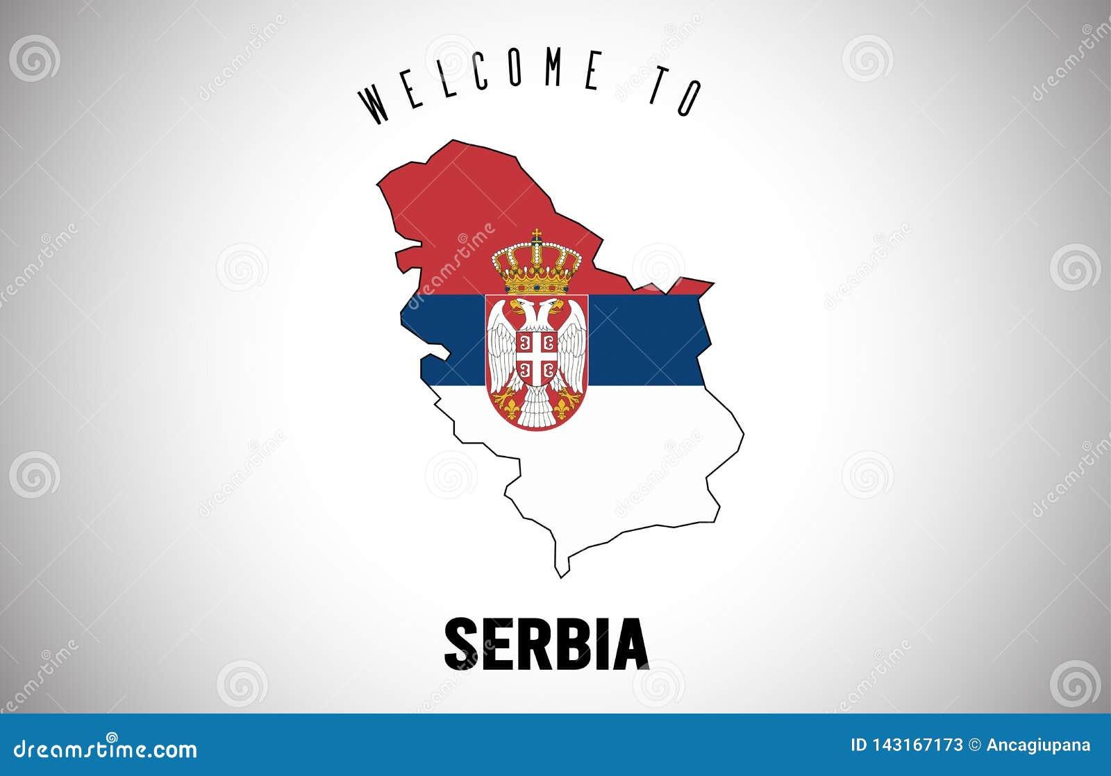 Serbien välkomnande som ska smsas och landsflagga inom design för vektor för landsgränsöversikt