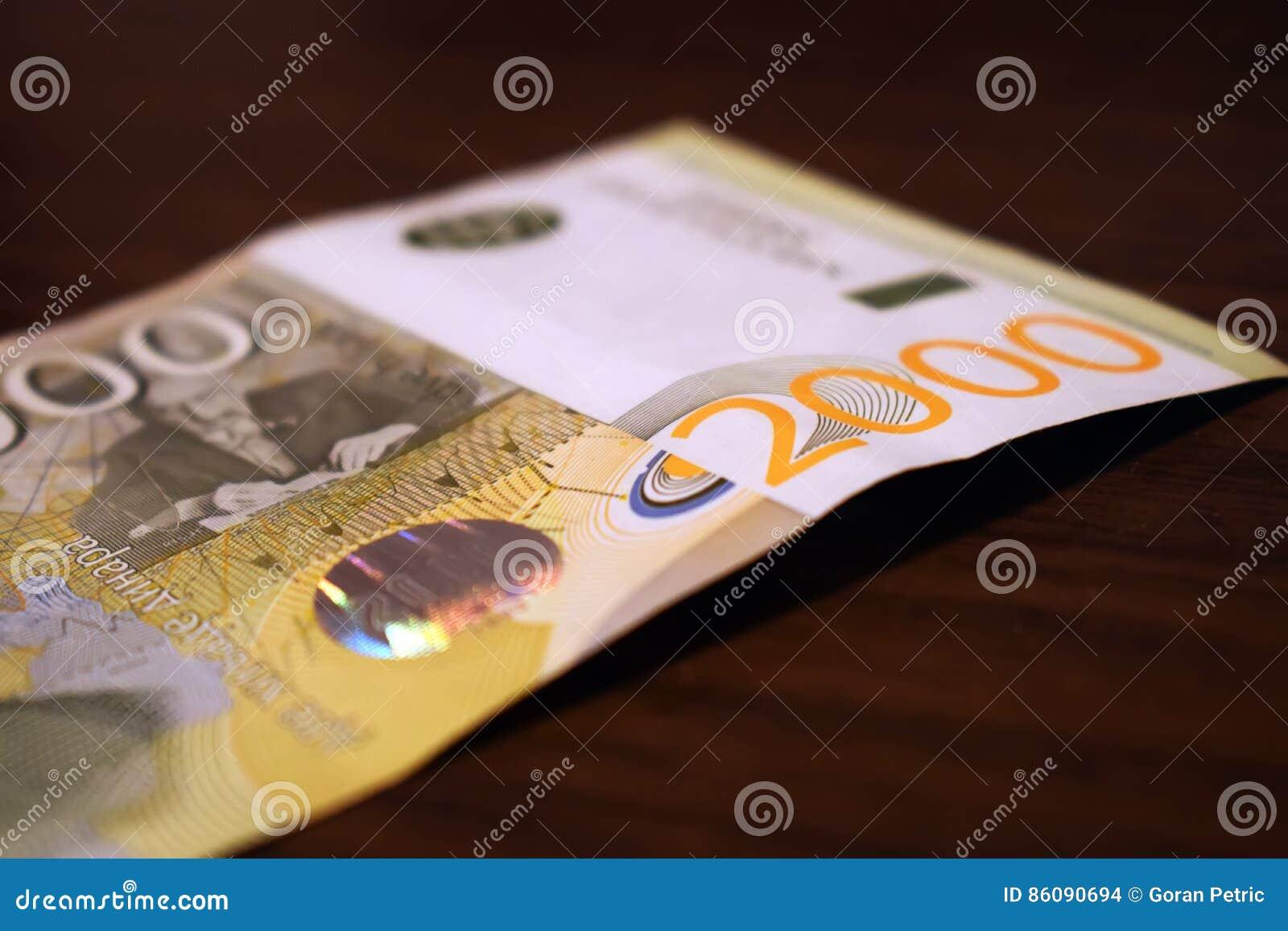 Serbiska pengar i papper, sedel 2000 dinar värde
