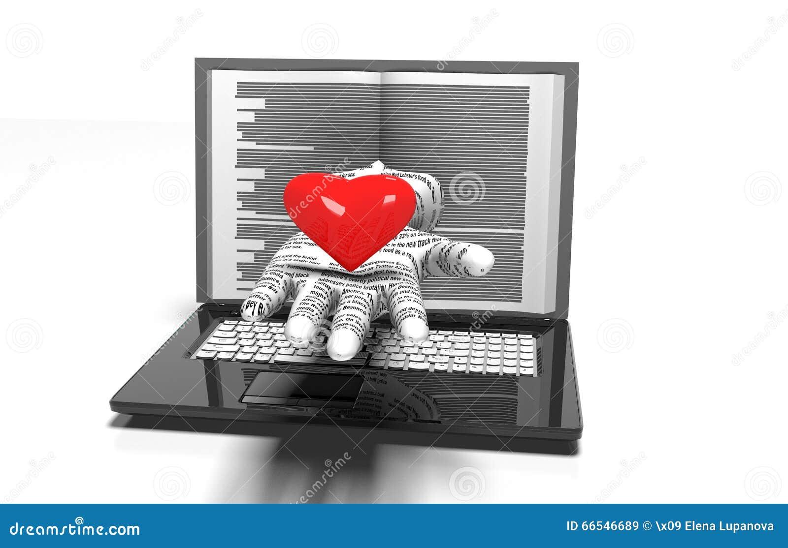 Serca tło na nowożytnym laptopie odizolowywającym