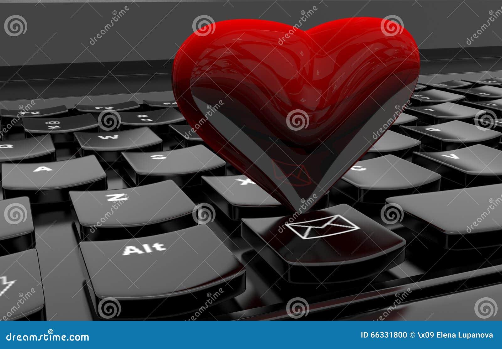 Serce na komputerowej klawiaturze