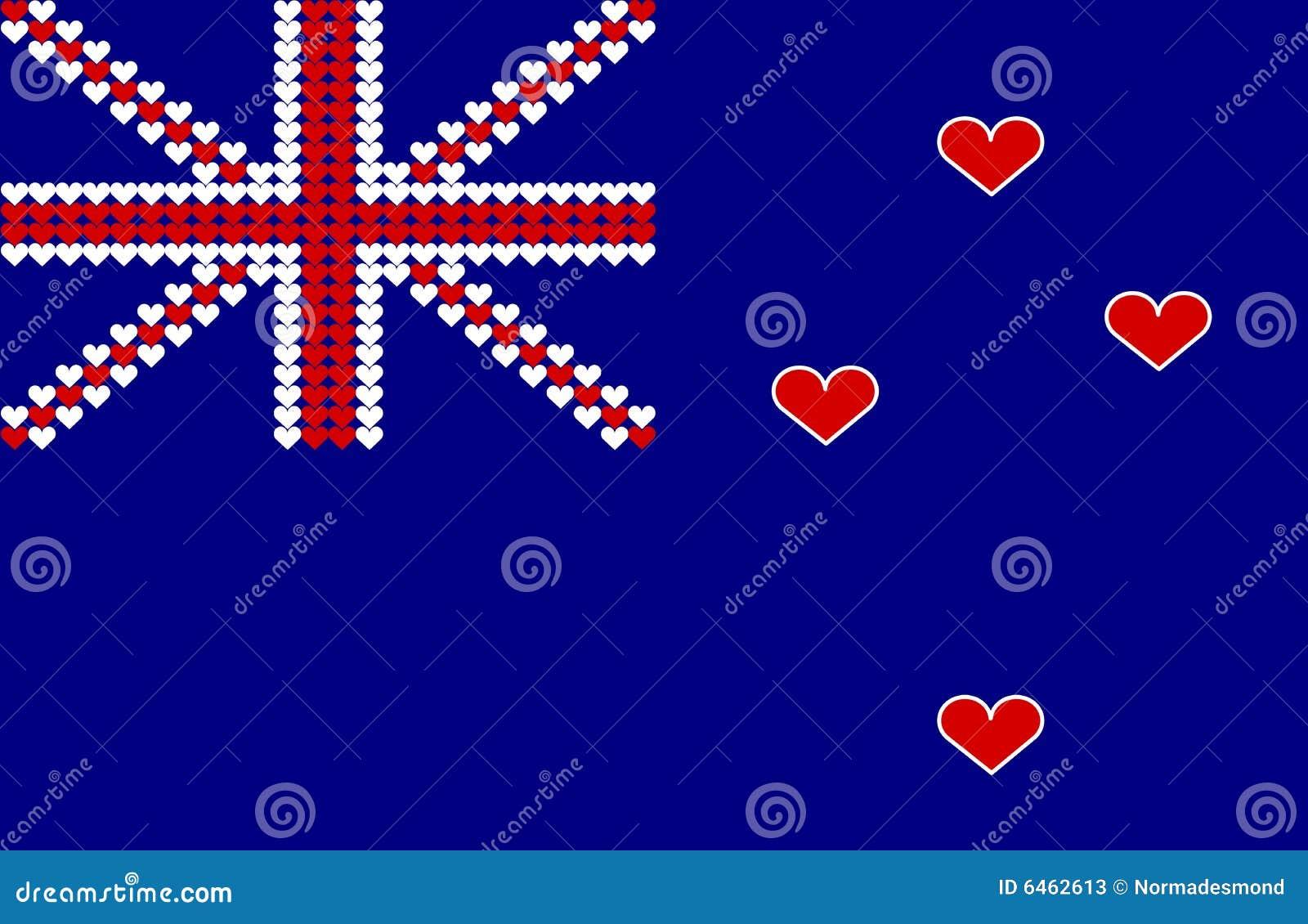 Serce nowe Zelandii bandery