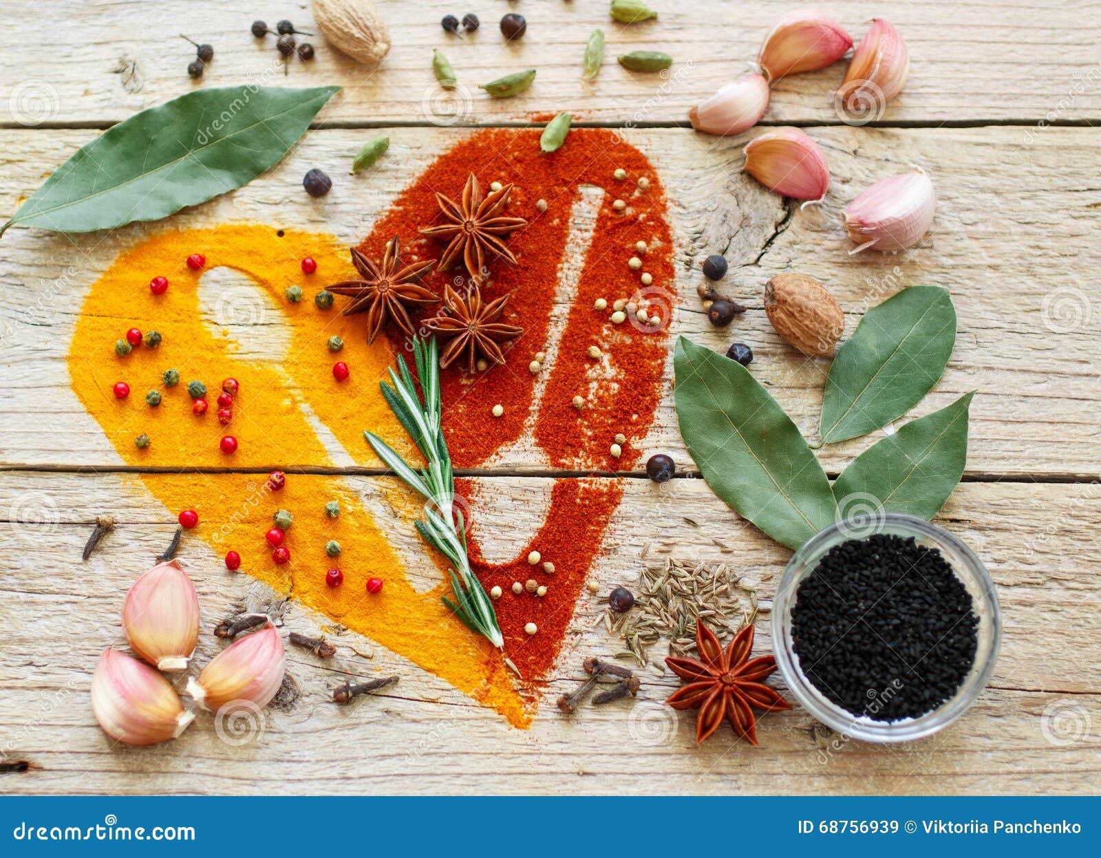 Serce pikantność i seasonings