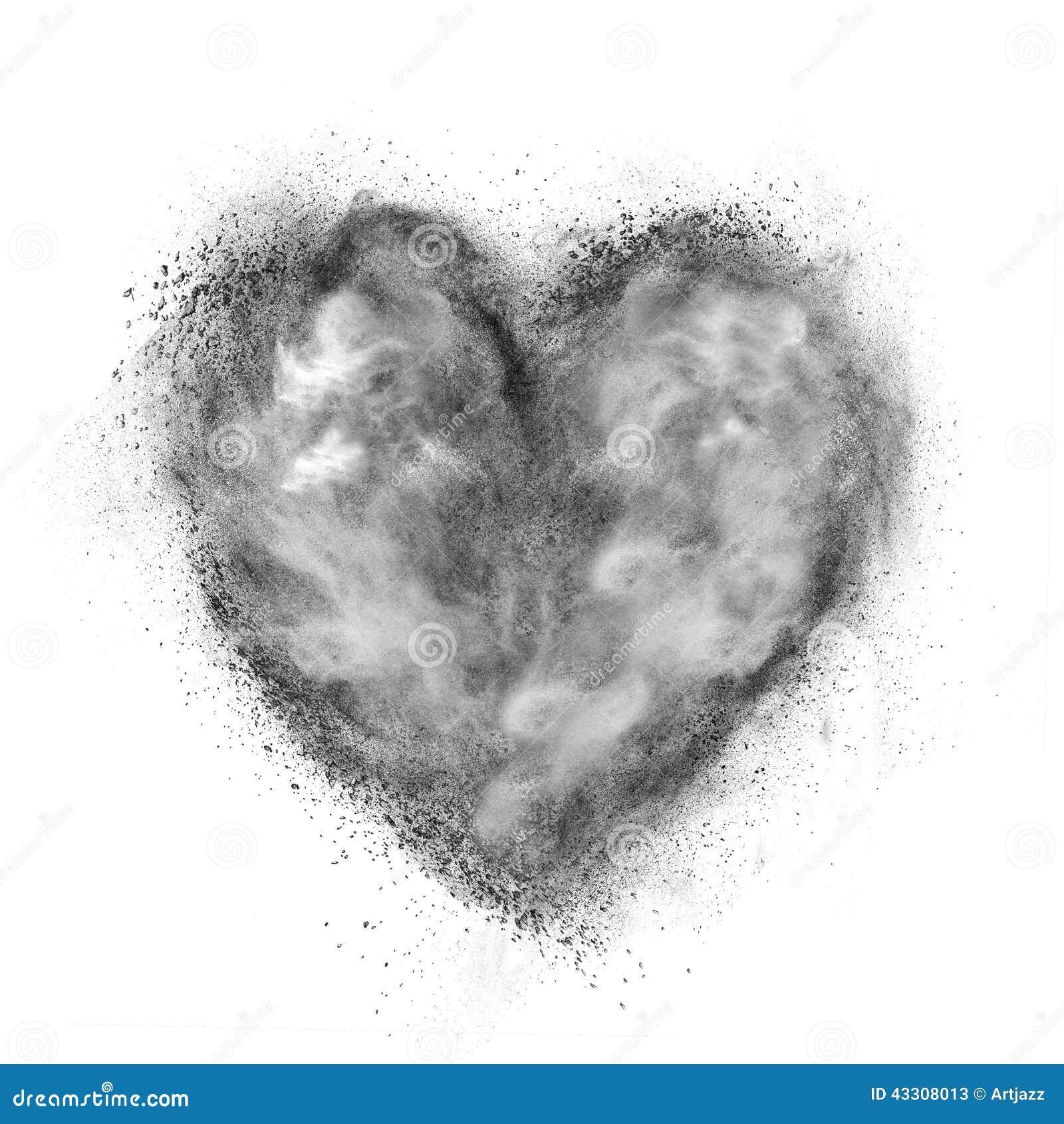 Serce robić czarnego proszka wybuch odizolowywający na bielu