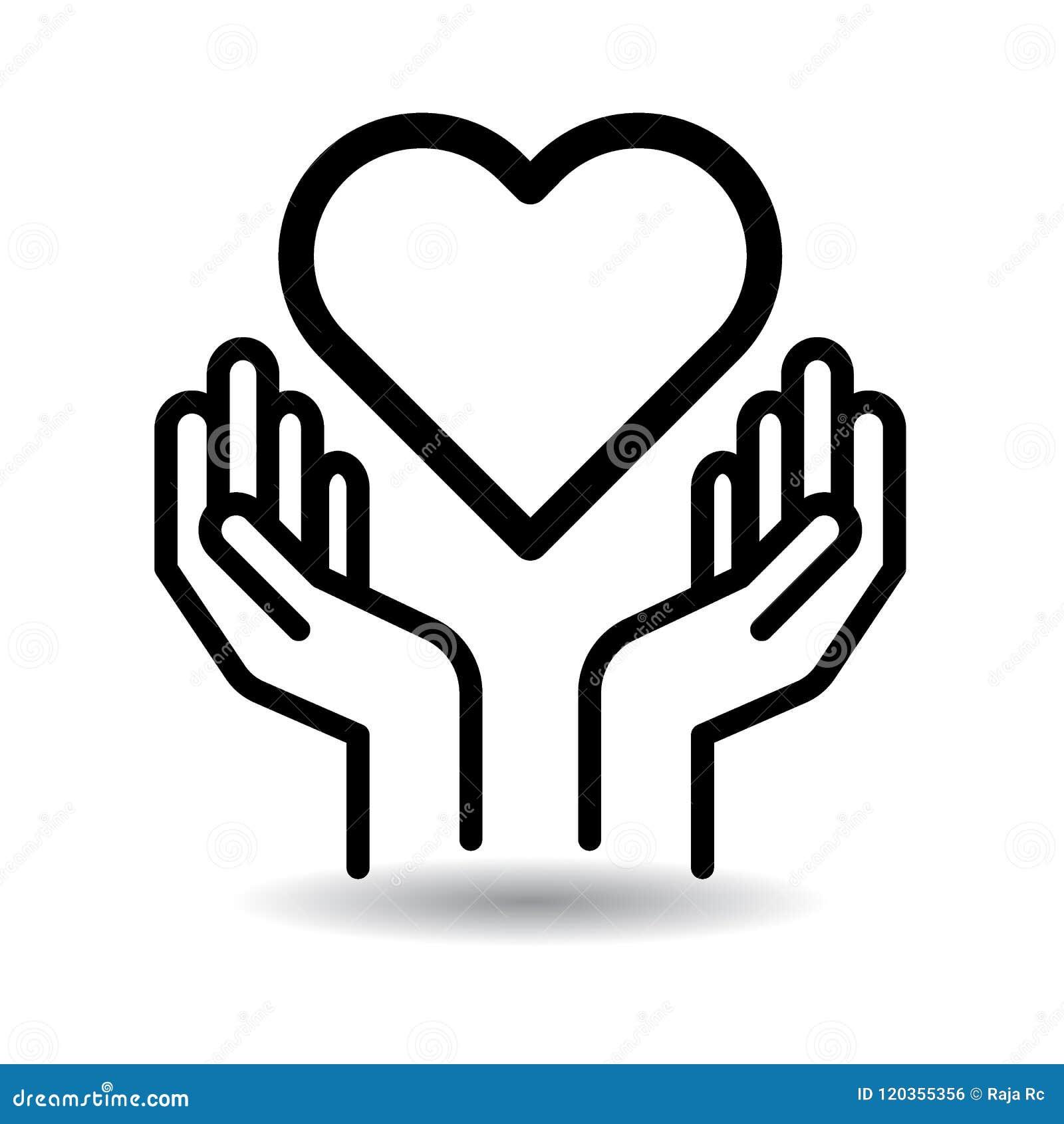 Serce w ręki ikonie
