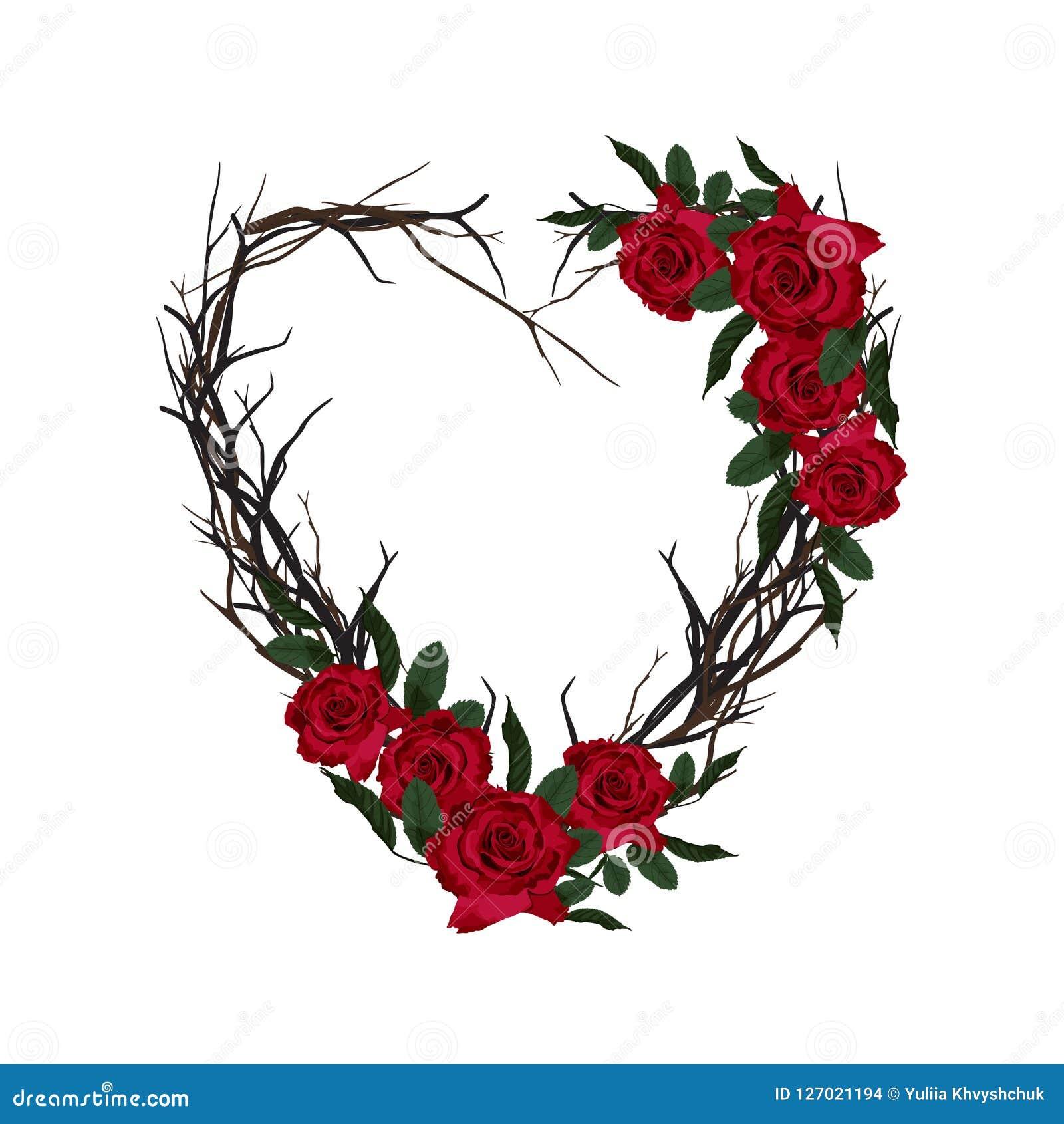 Serce wyplatający gałązki dekoracyjna kwiecista rama Piękny valentine kartka z pozdrowieniami z czerwonymi różami