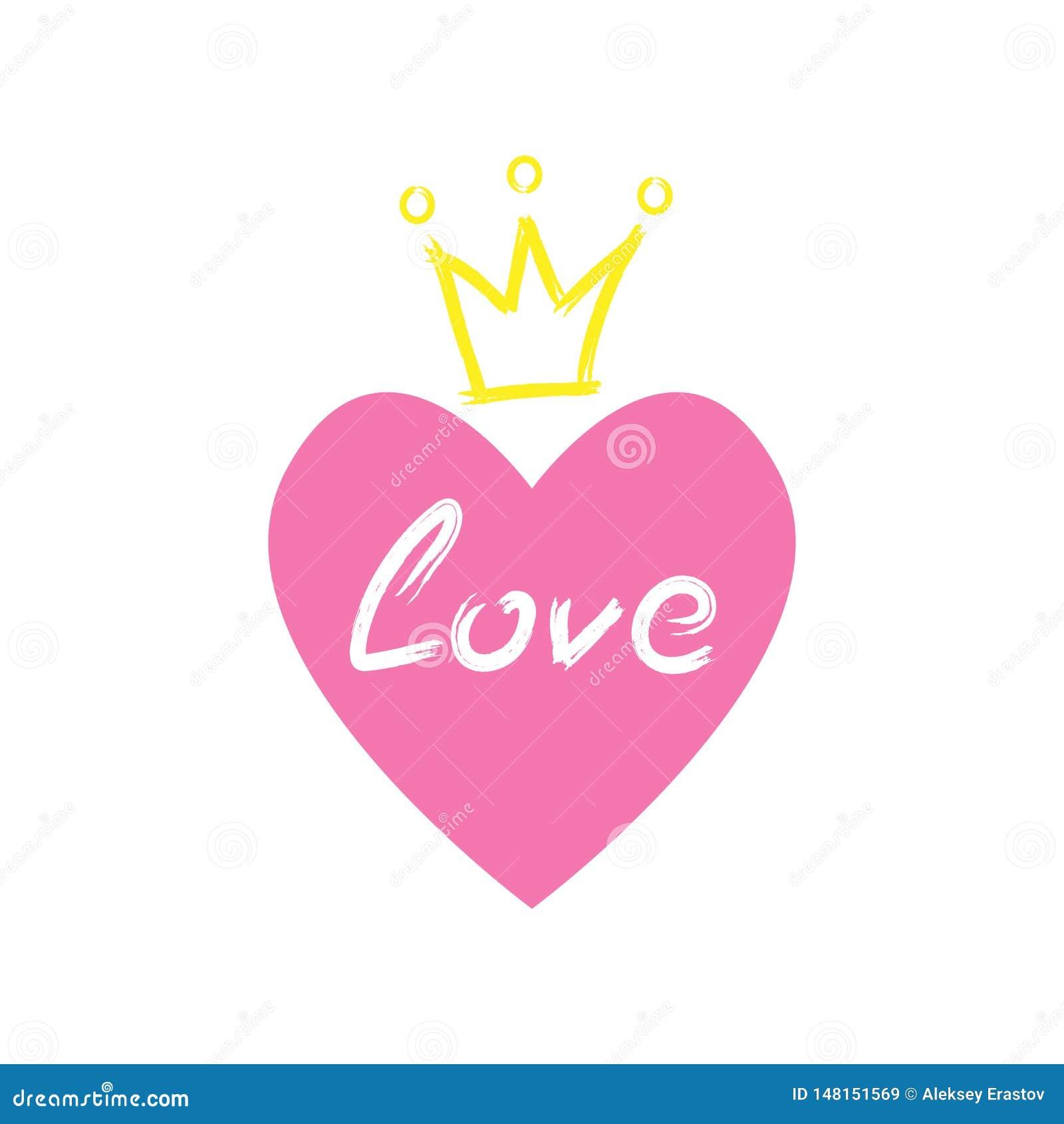 Serce z korony i miłości tekstem rysującym ręcznie z akwareli muśnięciem Nakre?lenie, grunge, farba