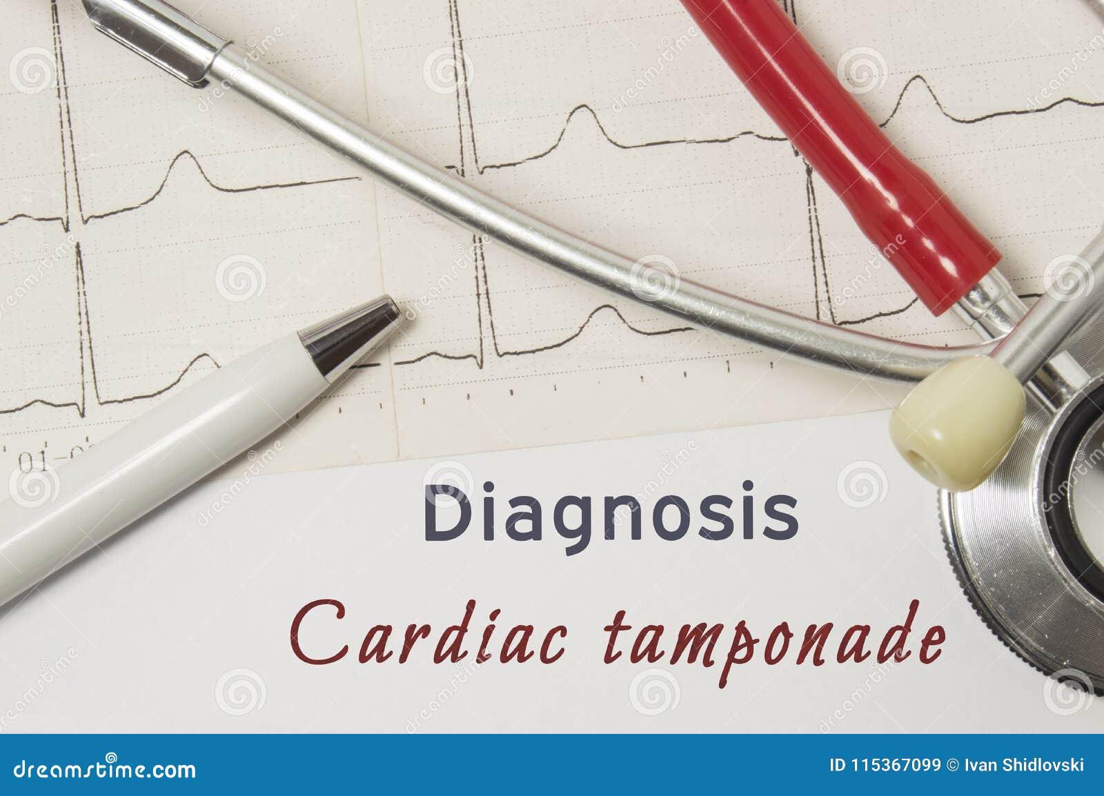 Sercowa diagnoza Sercowy Tamponade Na doktorskiej miejsce pracy jest papierowa medyczna dokumentacja która wskazywał diagnozę Ser