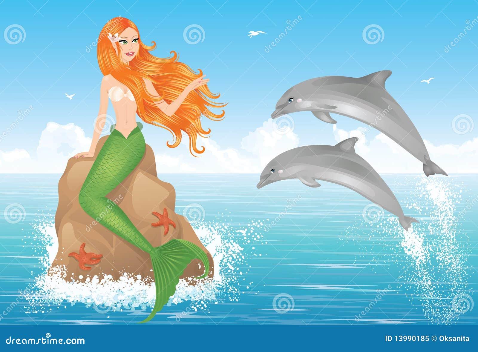 Sereia e dois golfinhos.