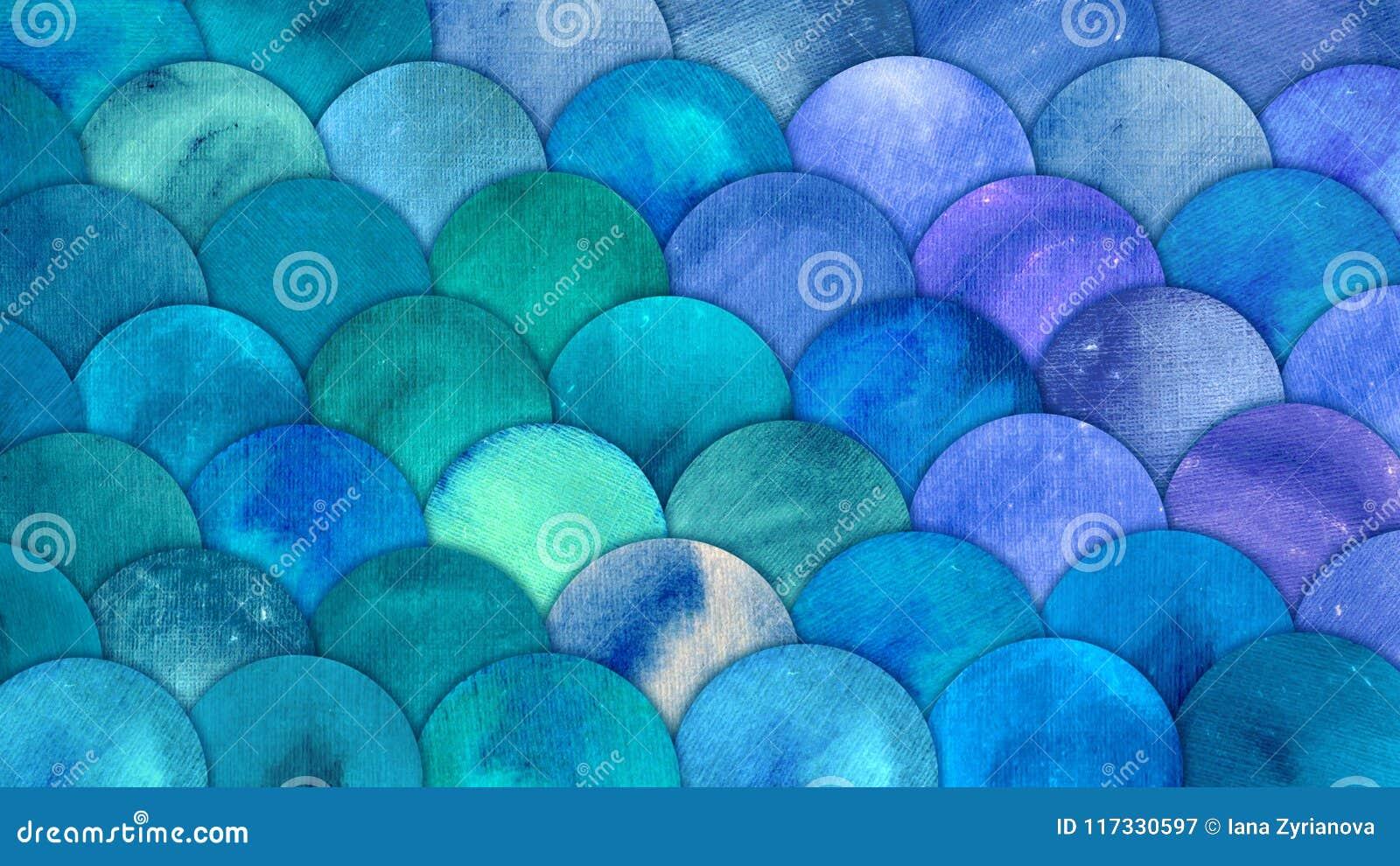A sereia escala o fundo do squame dos peixes da aquarela O teste padrão azul do mar do verão brilhante com reptilian escala o sum