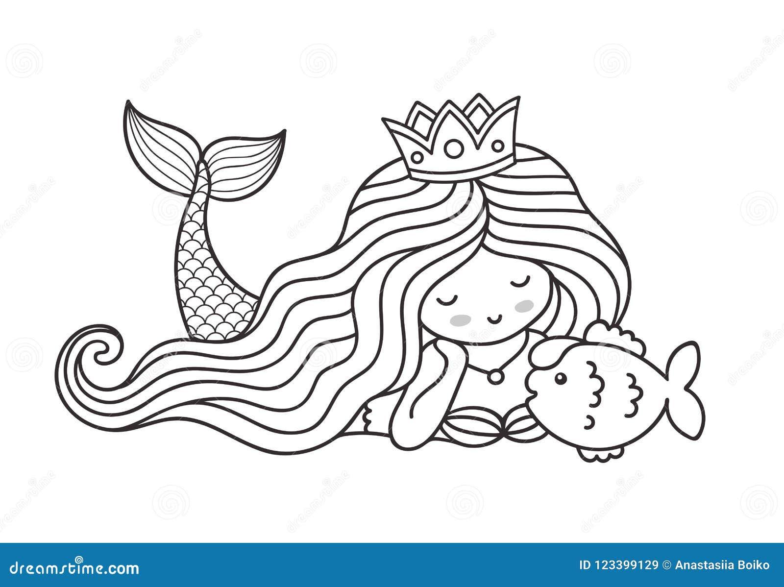 Sereia Que Encontra Se No Fundo Do Mar Com Os Peixes Pequenos