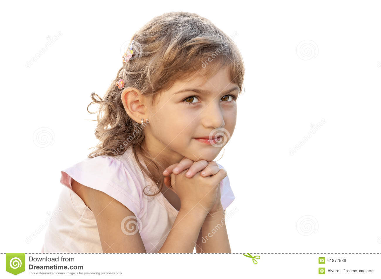 Serene Person Child Girl Purity Portrait Stock Photo ...