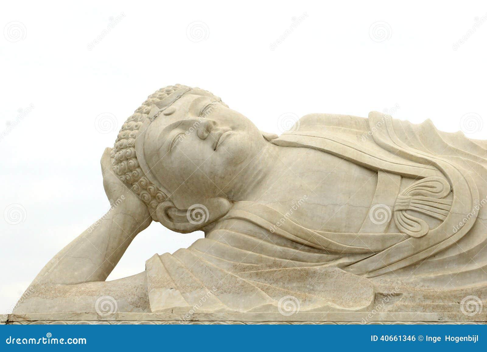 Peaceful white marble zen Buddha statue, China
