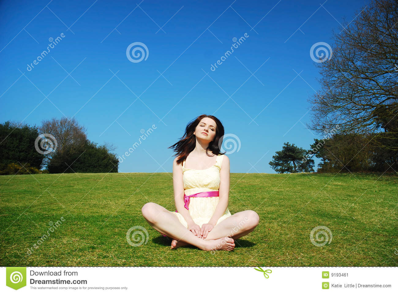 Serene Woman In Field Stock Image - Image: 9193461