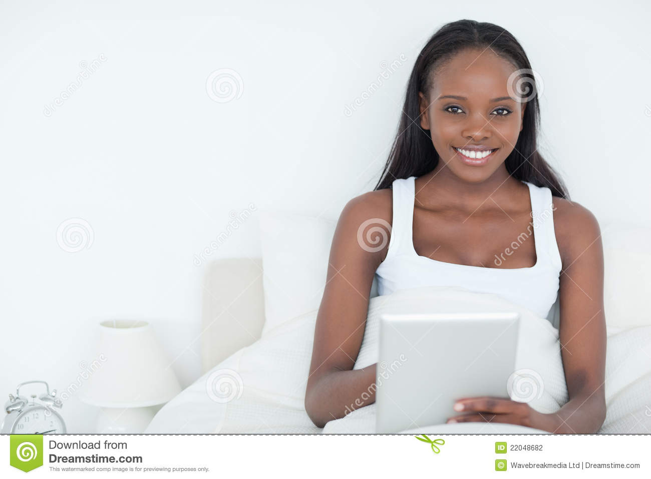 Serene Woman Using A Tablet Computer Stock Photography ...