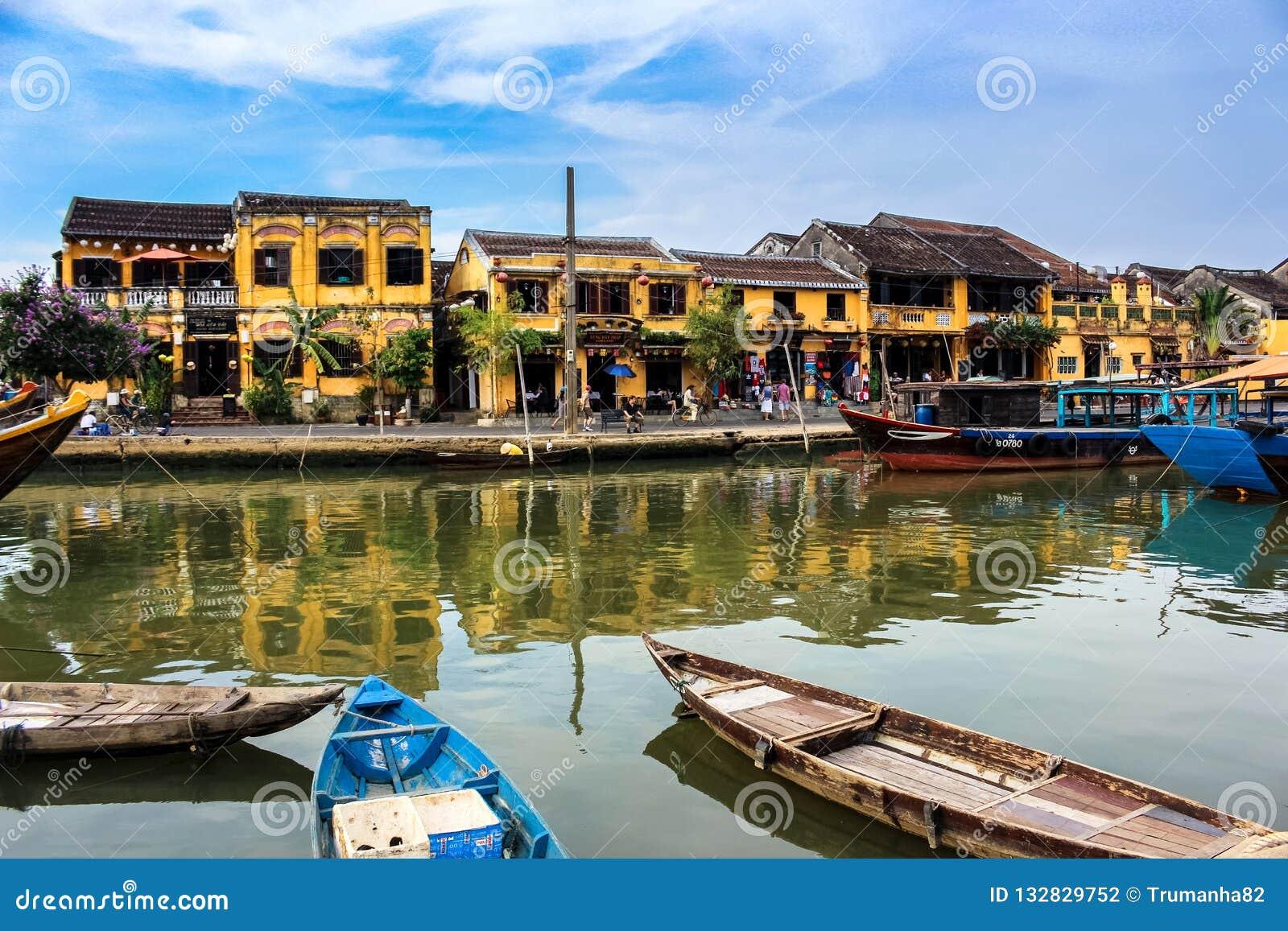 Sereniteten av Hoi An Ancient Town i centrala Vietnam
