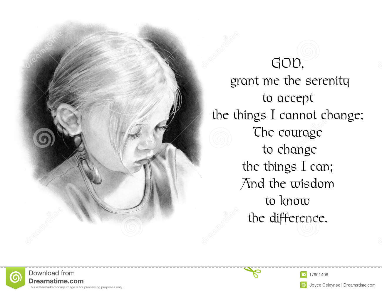 Serenity Prayer With Pencil Drawing Of Girl Stock