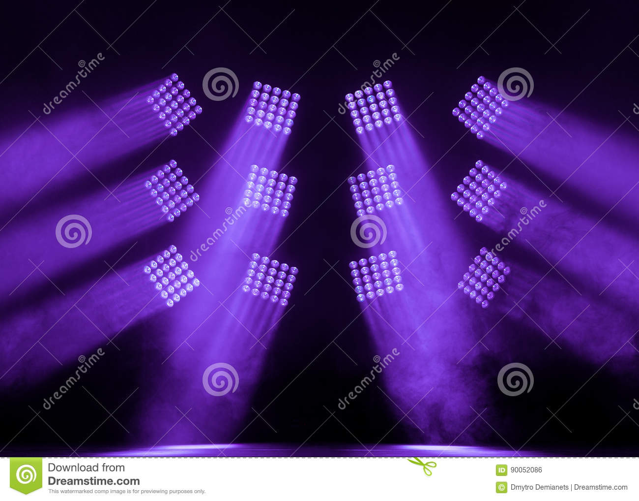 Serenity and purple square stage spotlights with a smoke on the concert