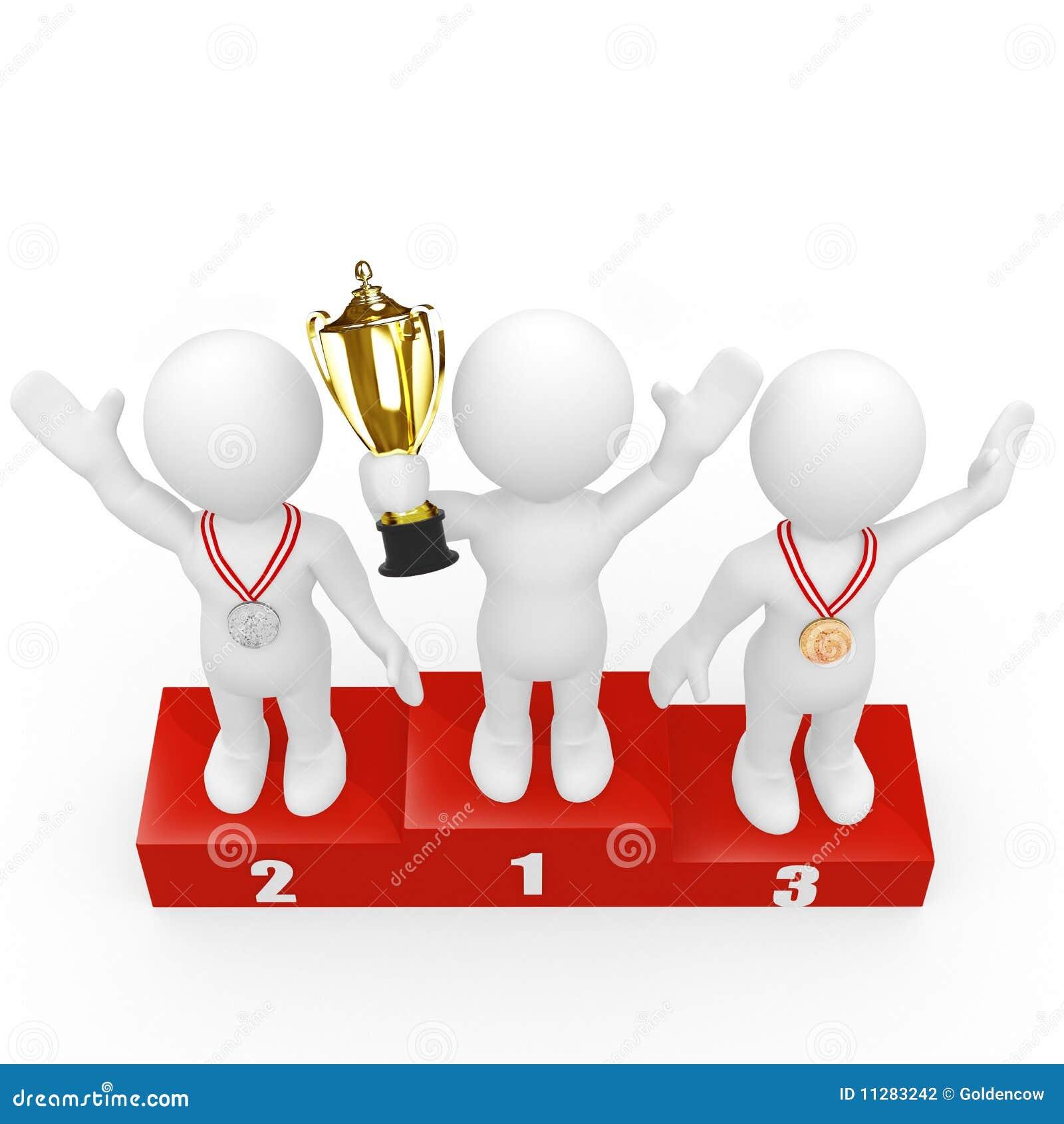 Seres Humanos 3d Que Se Colocan En El Podium De Los Ganadores Stock