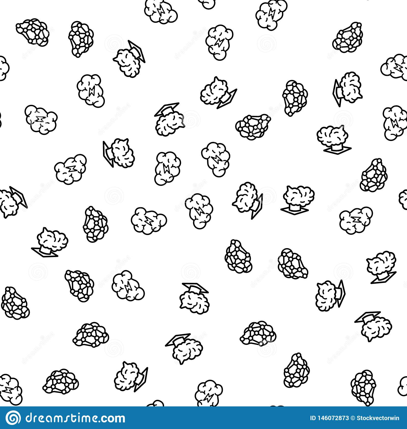 Seres humanos Brain Activity Seamless Pattern Vetora