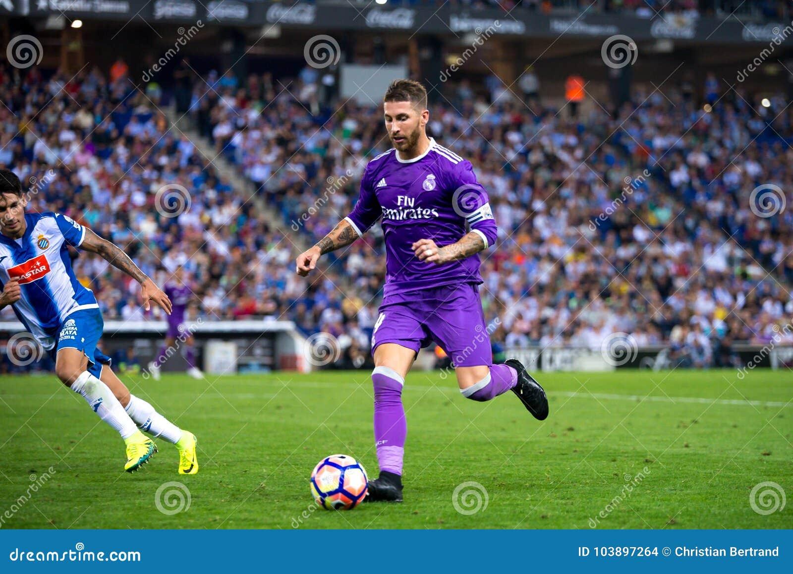 Sergio Ramos Soccer Real Madrid Stadium Soccer Pitches: Sergio Ramos Plays At The La Liga Match Between RCD