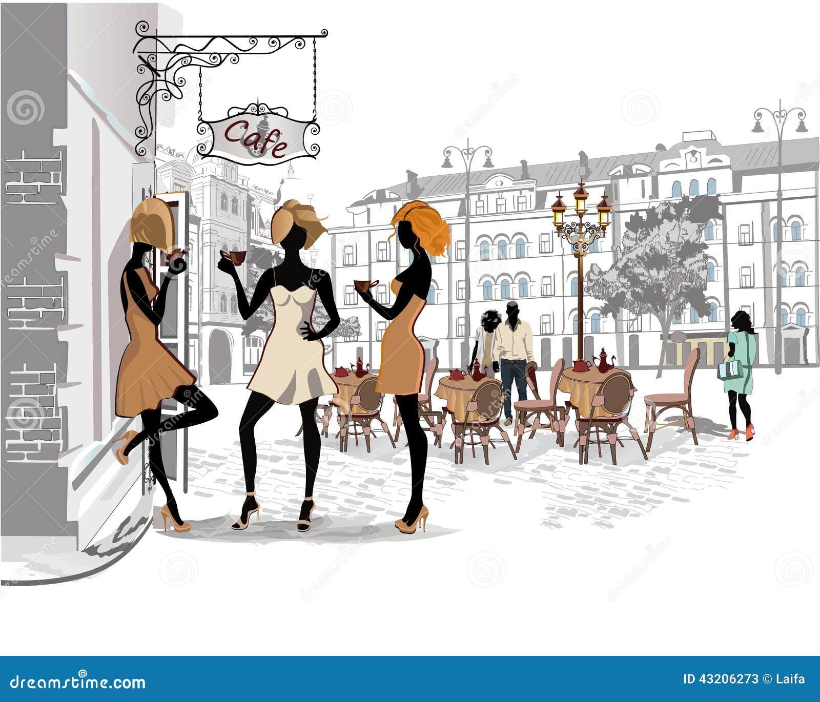 Download Serie Av Gatakaféer I Staden Med Folk Som Dricker Kaffe Vektor Illustrationer - Illustration av möblemang, stad: 43206273