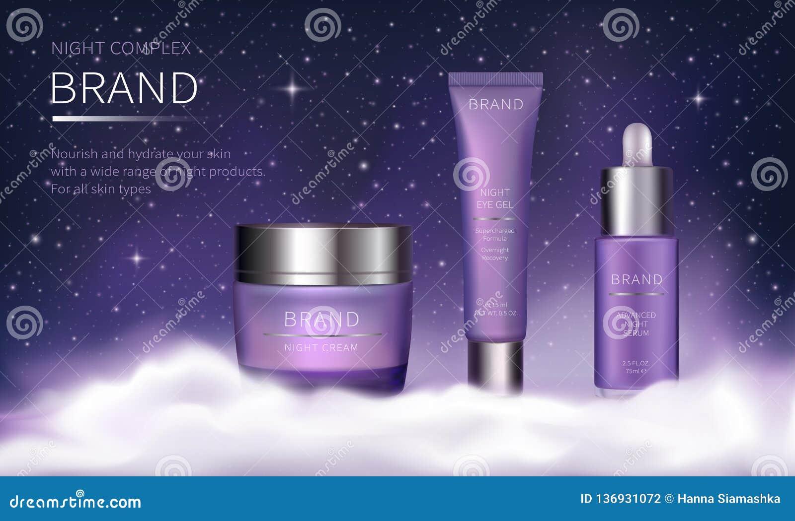 Serie cosmética de la noche para el cuidado de piel de la cara