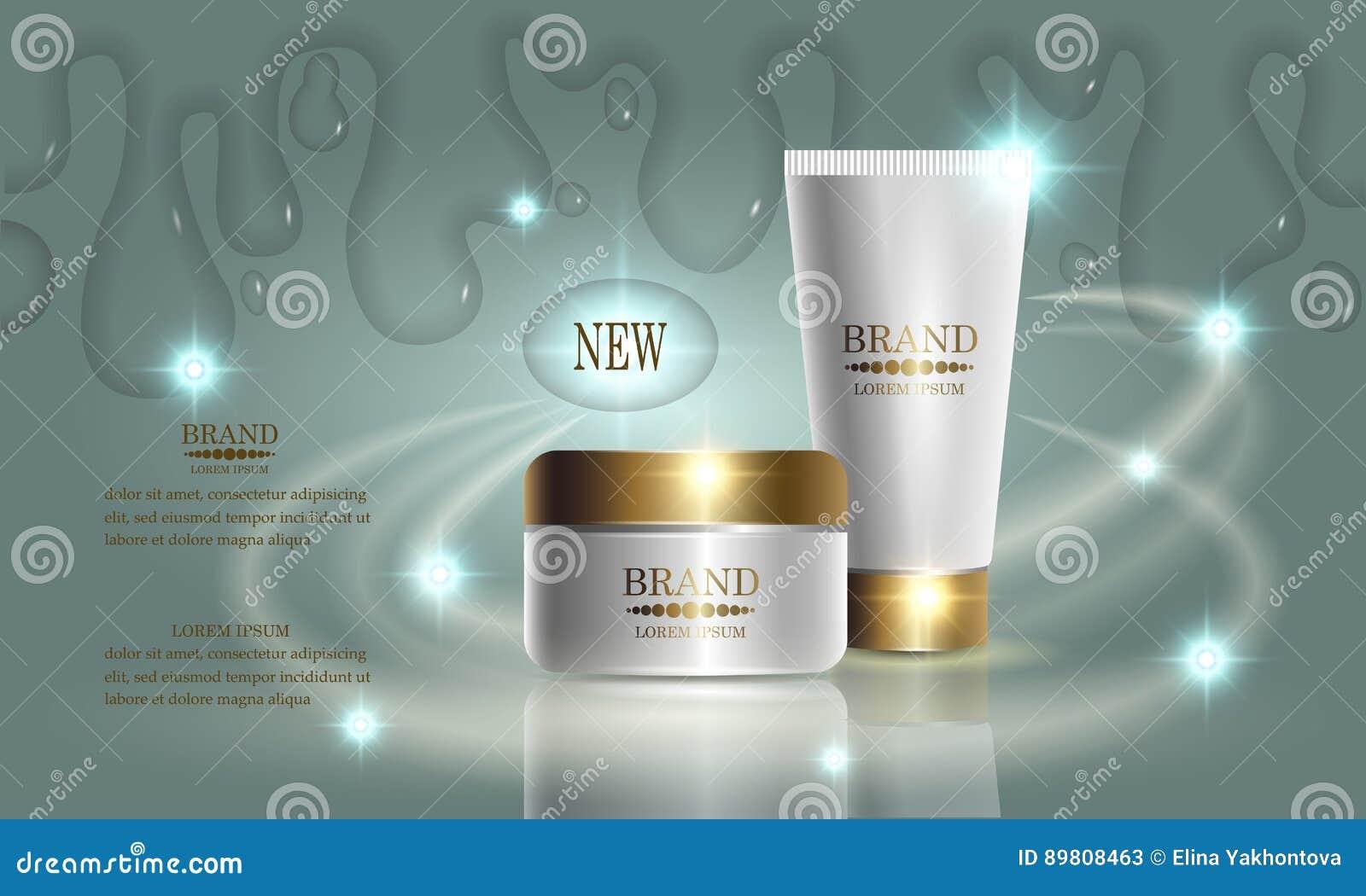 Serie de la belleza de los cosméticos, crema superior para el cuidado de piel Plantilla para el cartel del diseño, cartel, bander