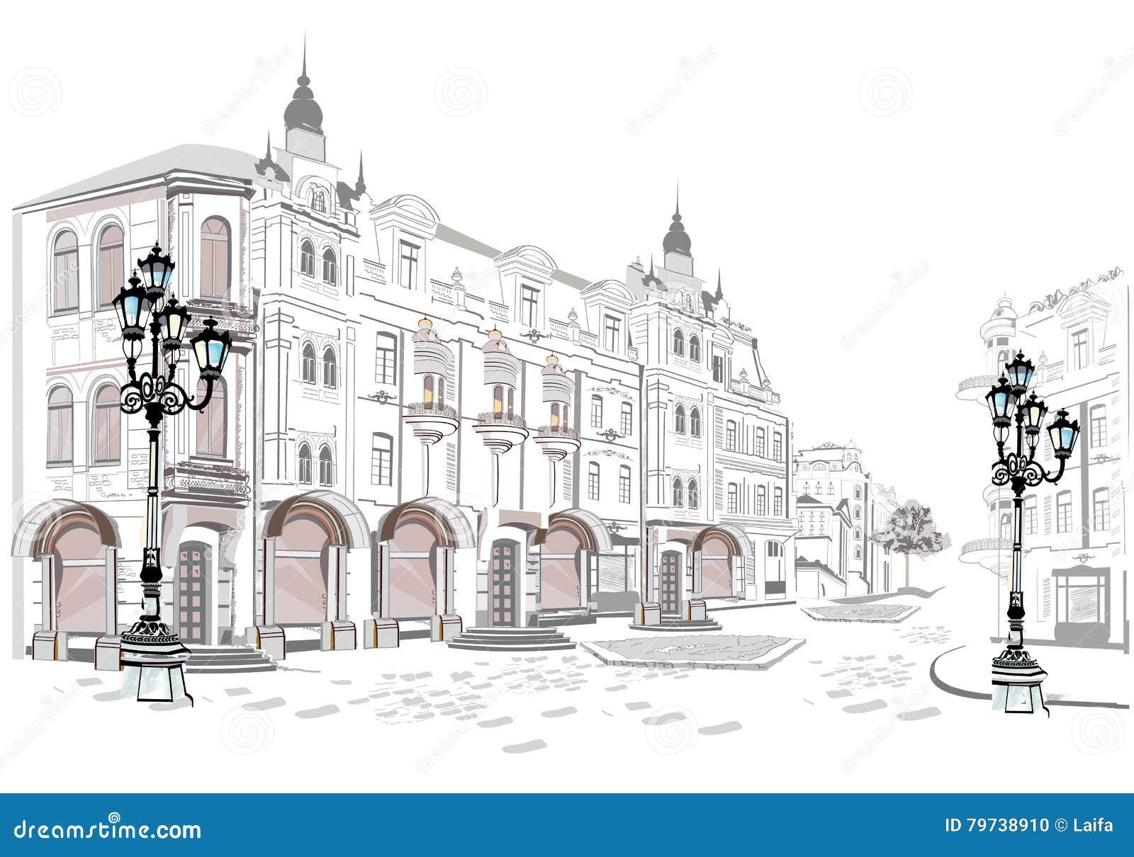 Serie de opiniones de la calle en la ciudad vieja