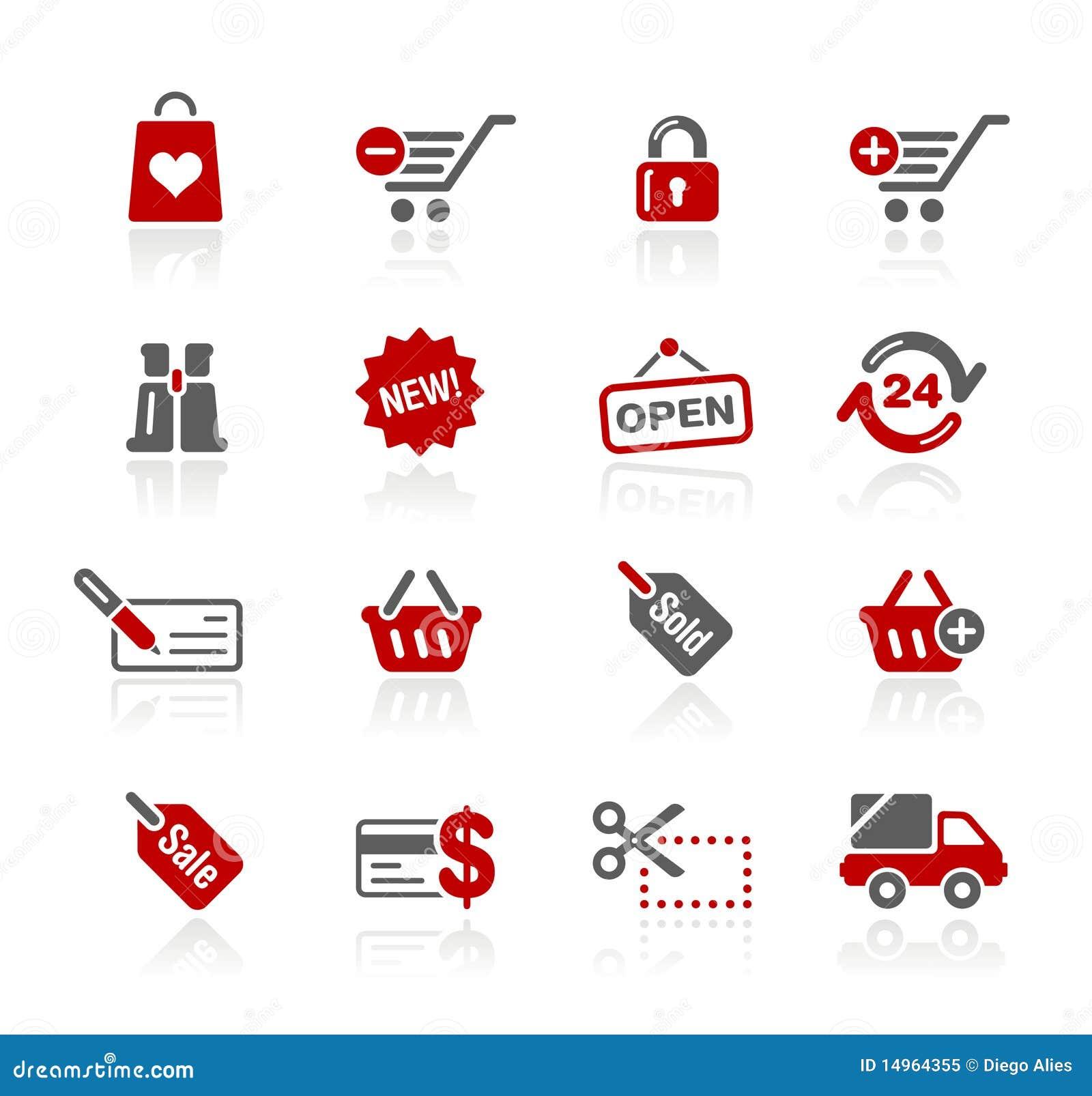 Serie de // Redico de los iconos del Web de las compras