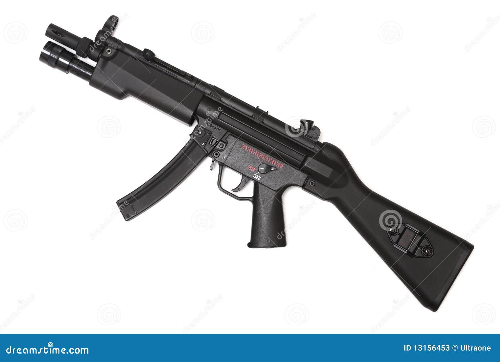 Serie del arma. Subfusil ametrallador moderno, vista lateral.